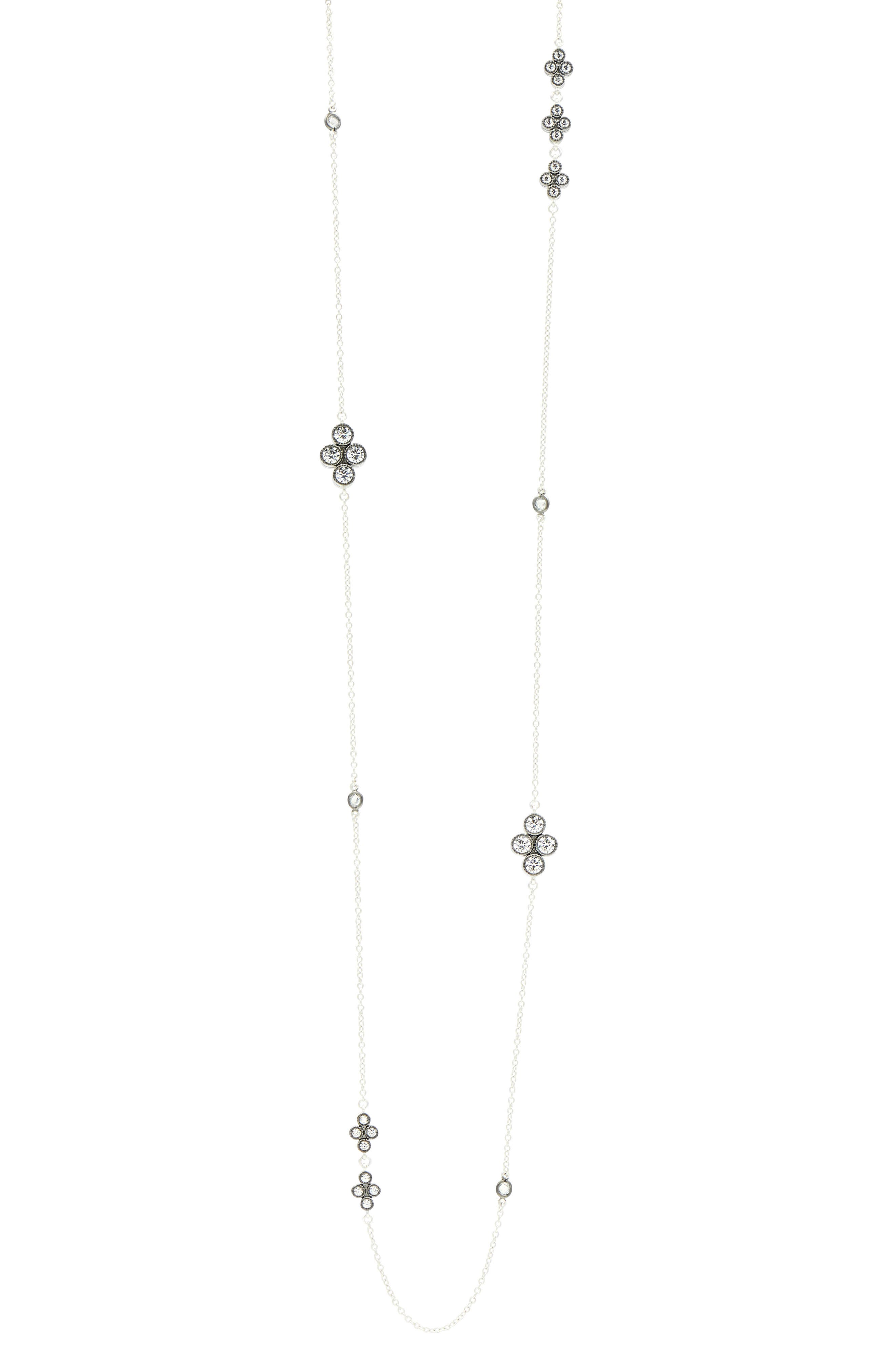 Industrial Finish Long Station Necklace,                         Main,                         color, Black/ Silver