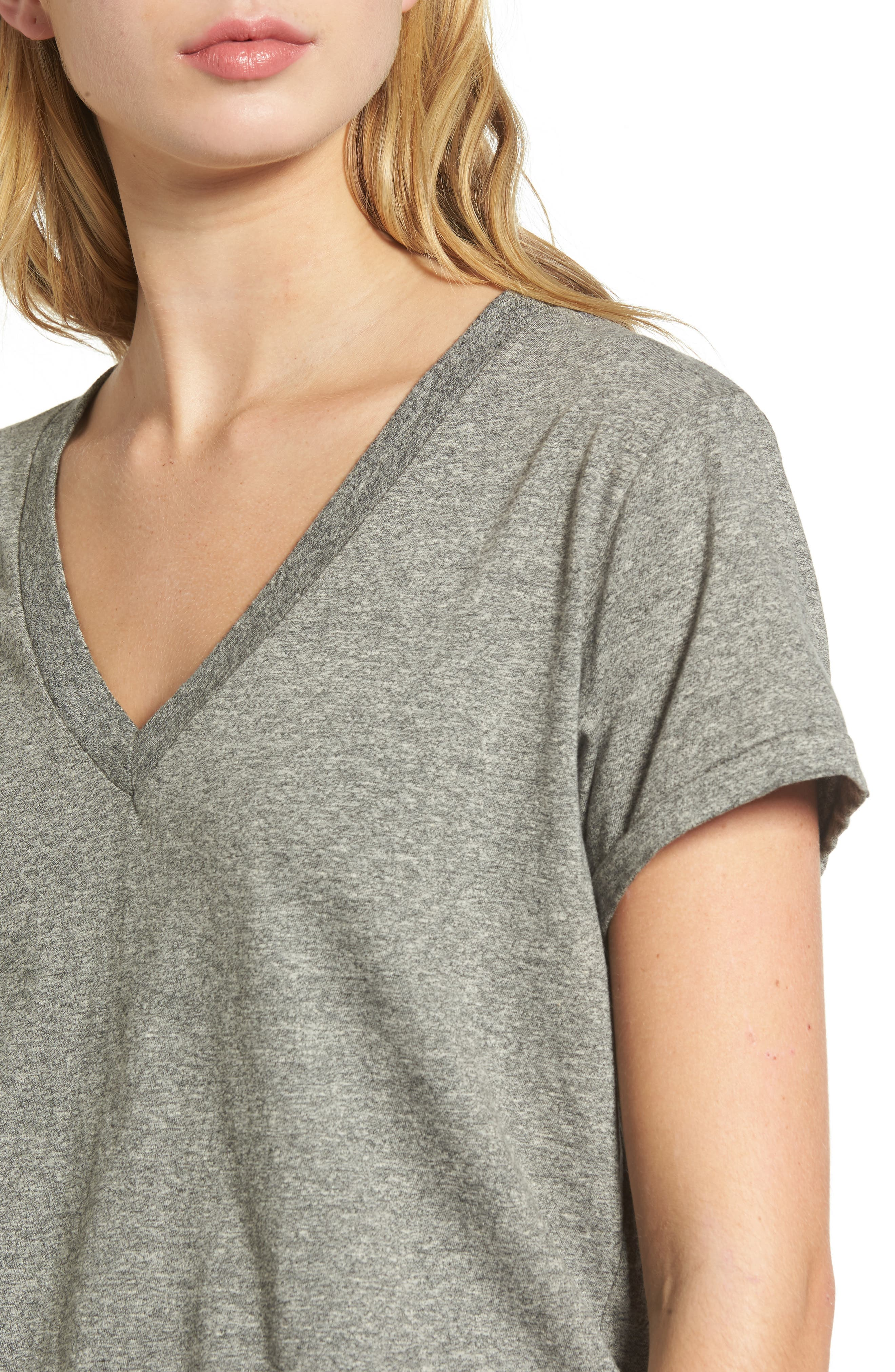 'The V-Neck' Tee,                             Alternate thumbnail 4, color,                             Heather Grey