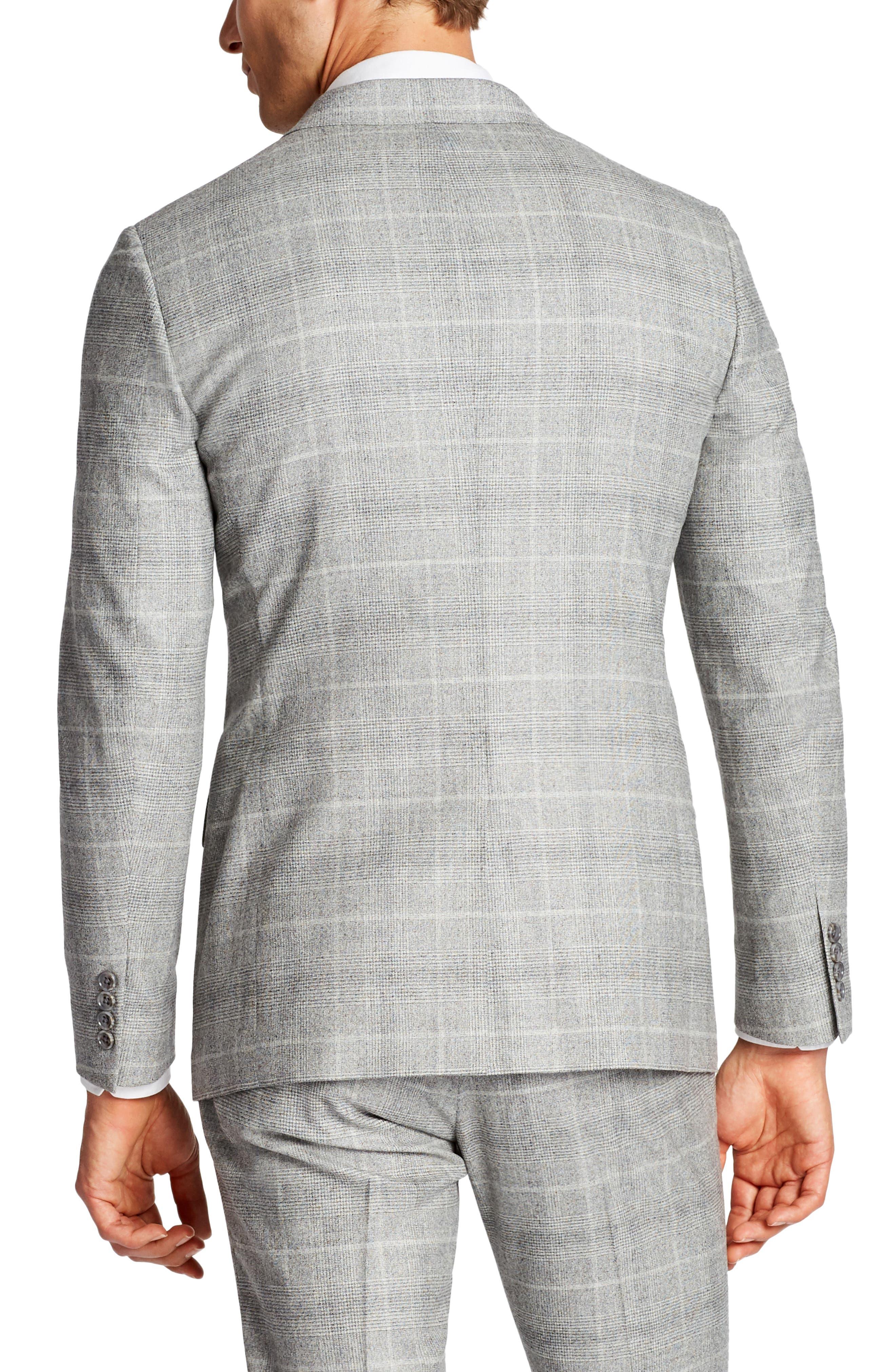 Jetsetter Slim Fit Plaid Stretch Wool Sport Coat,                             Alternate thumbnail 2, color,                             Light Grey Flannel