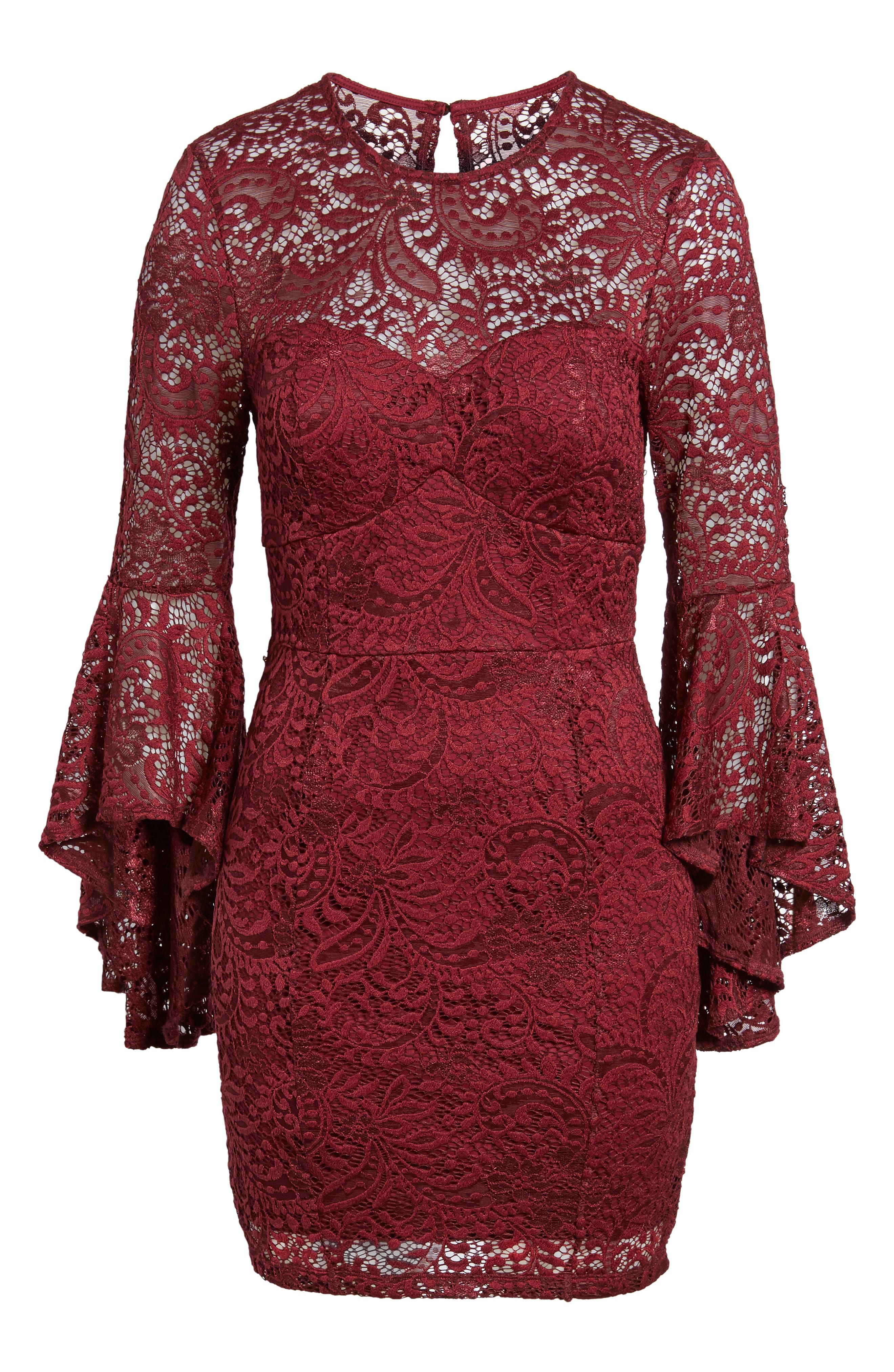 Lace Bell Sleeve Dress,                             Alternate thumbnail 6, color,                             Burgundy