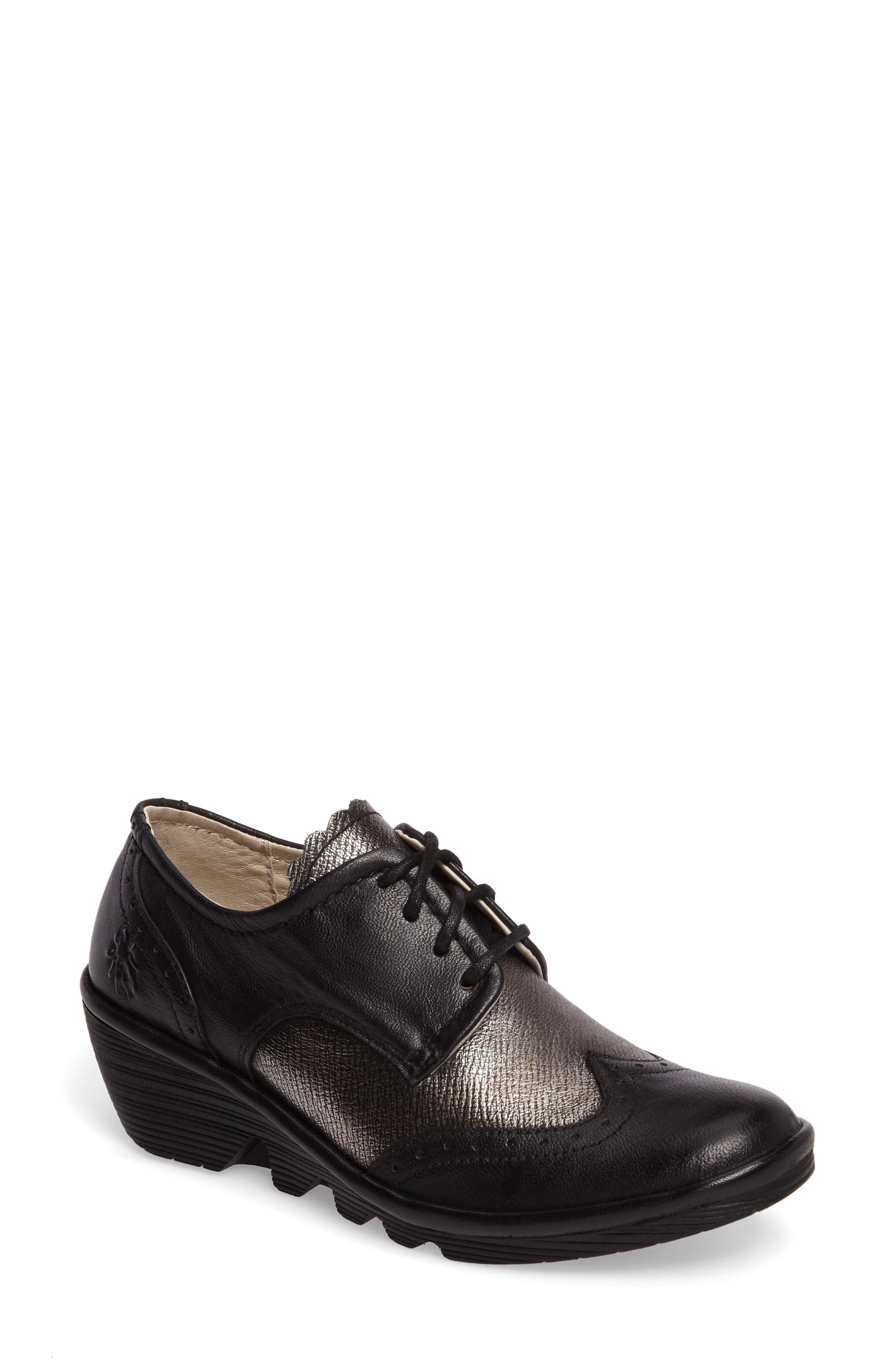 'Palt' WedgePump,                             Main thumbnail 1, color,                             Black/ Antique Silver Leather