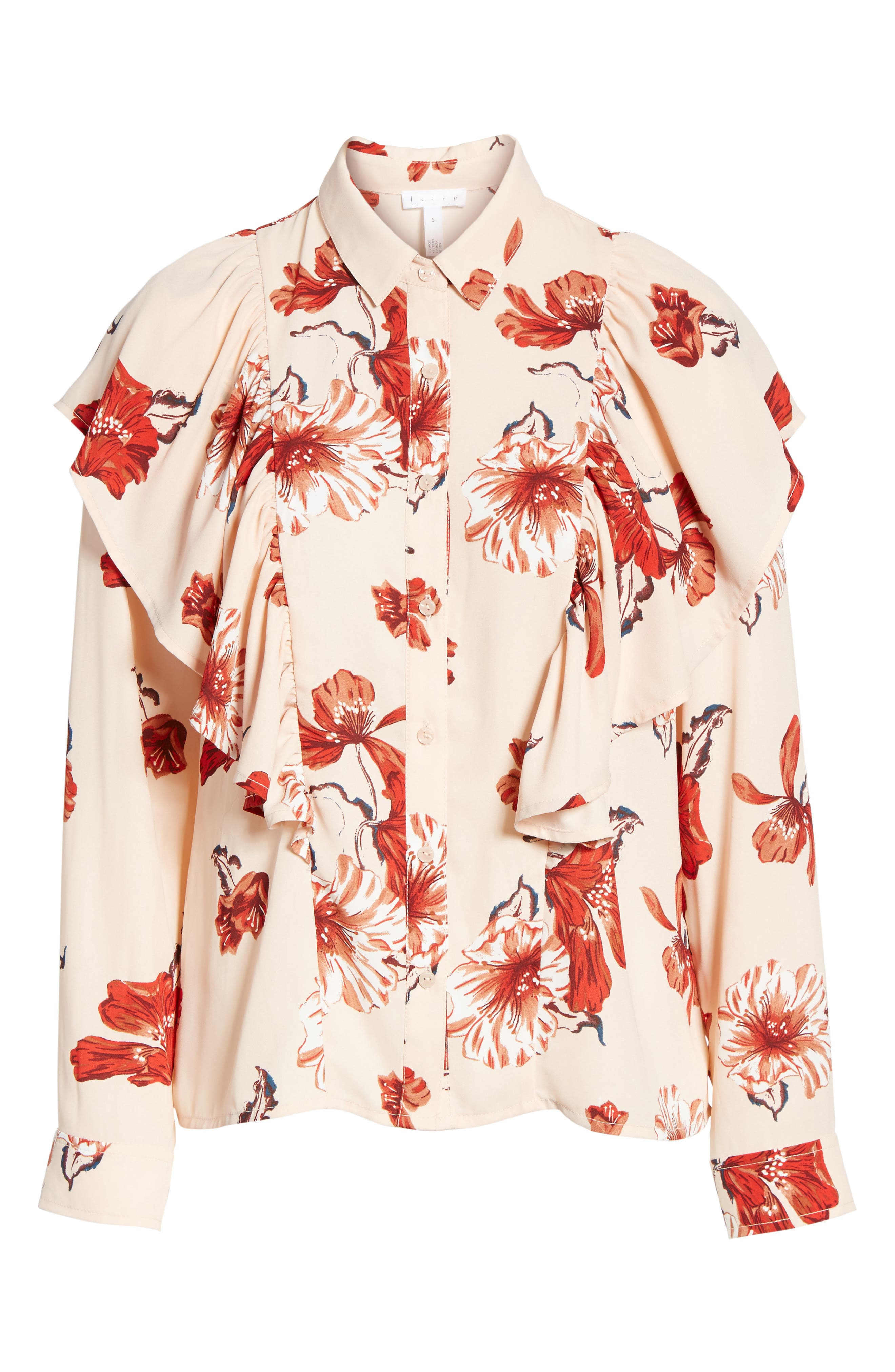 Floral Ruffle Top,                             Alternate thumbnail 6, color,                             Pink Hero Expressive Floral