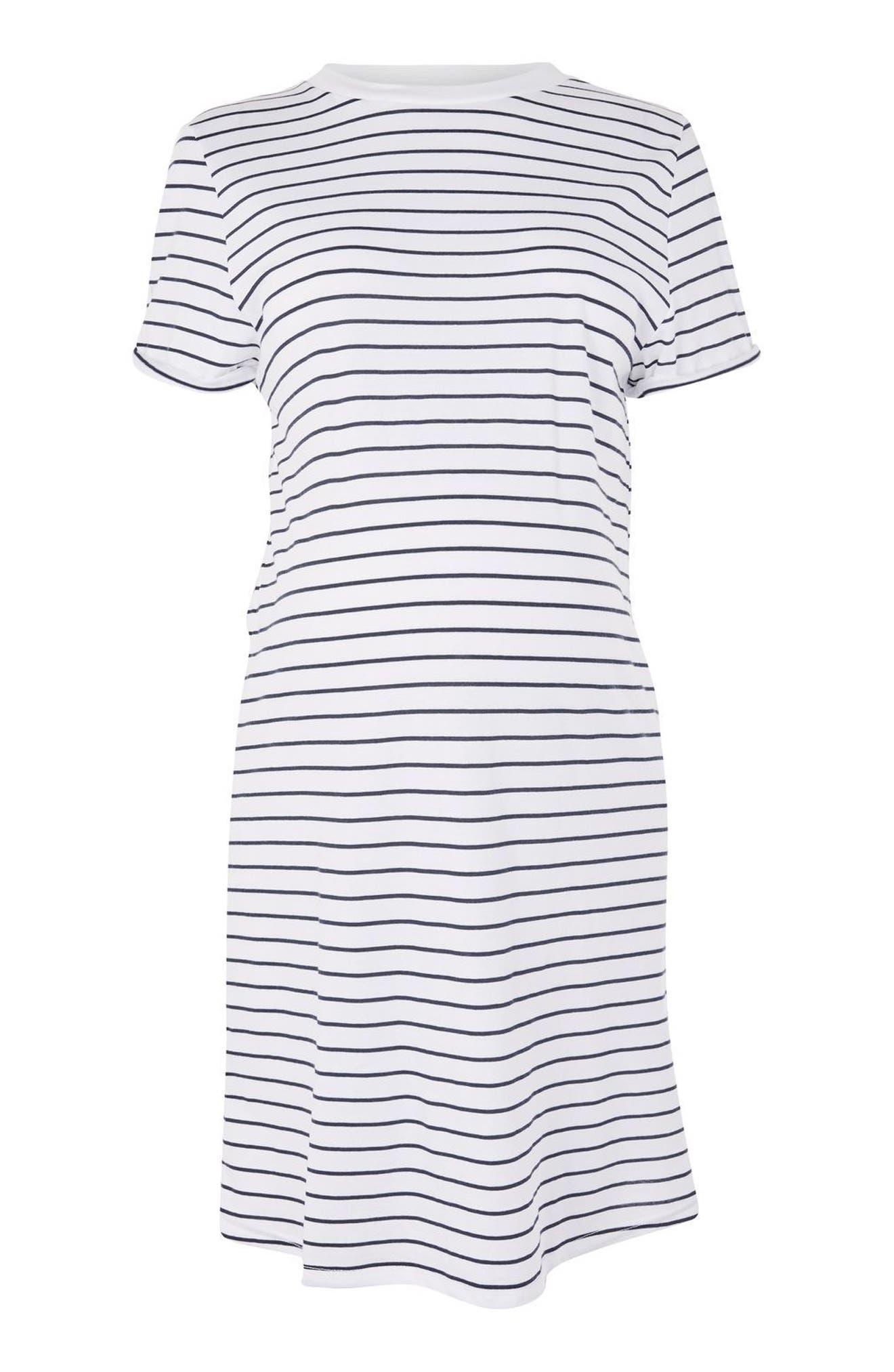 Topshop Stripe Roll Back Maternity Shift Dress