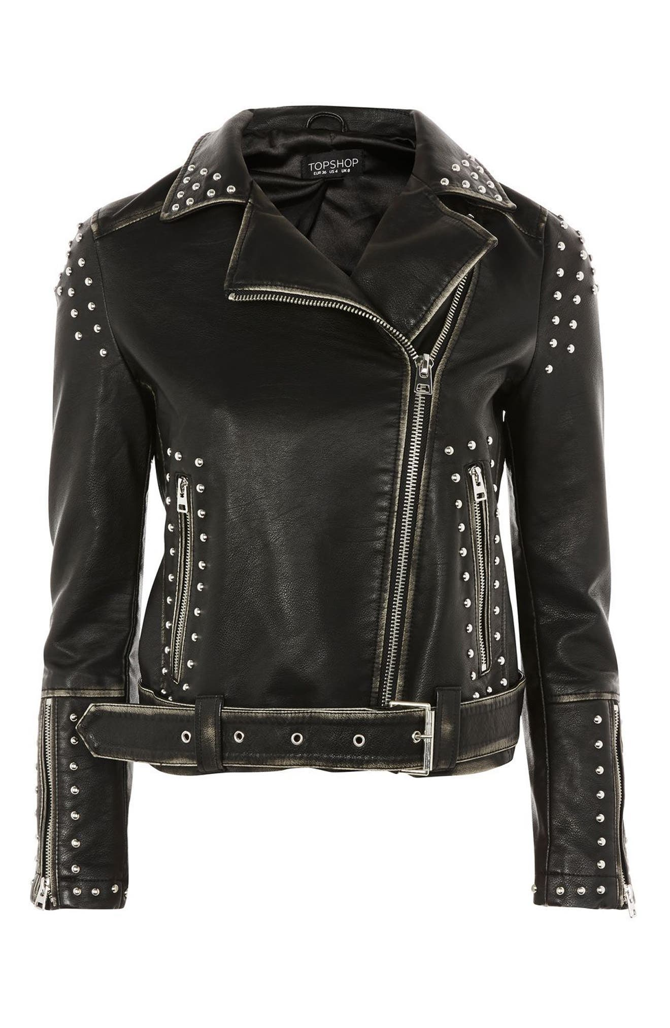 Alternate Image 4  - Topshop Naomi Studded Faux Leather Biker Jacket
