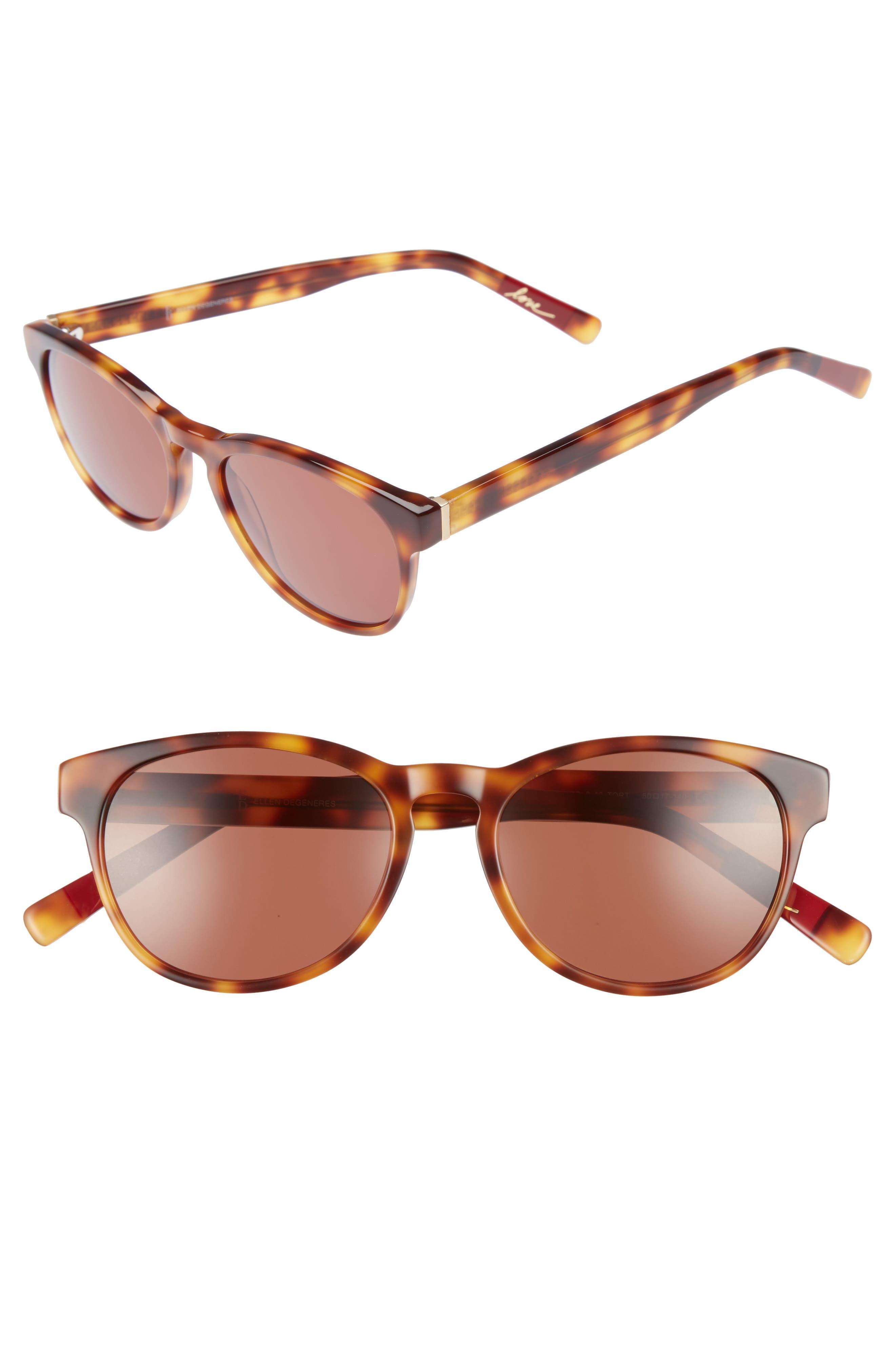 50mm Gradient Sunglasses,                         Main,                         color, Tortoise