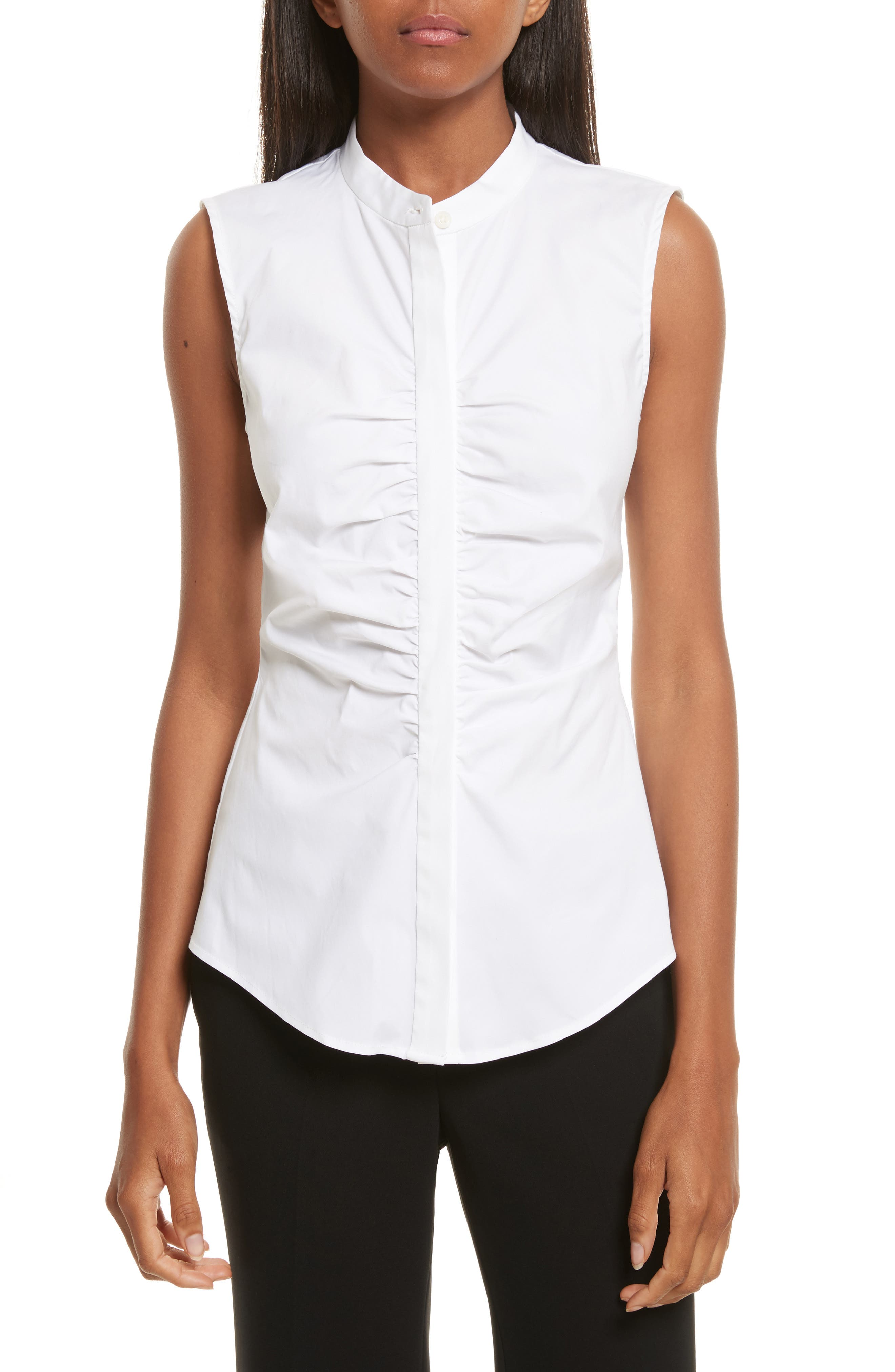 Ruched Fitted Stretch Cotton Blouse,                             Main thumbnail 1, color,                             White