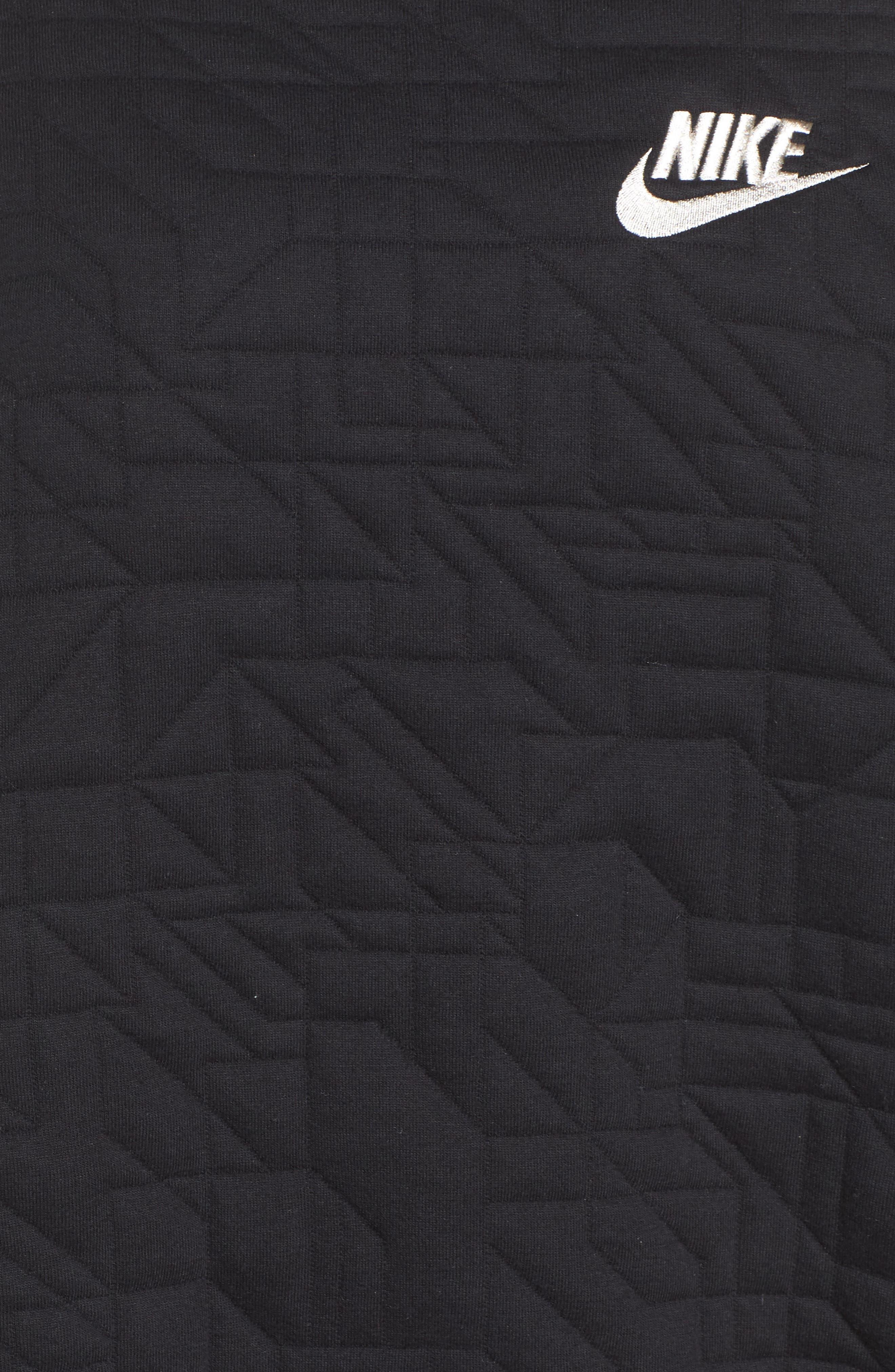 Sportswear Quilted Funnel Neck Pullover,                             Alternate thumbnail 6, color,                             Black/ Light Bone