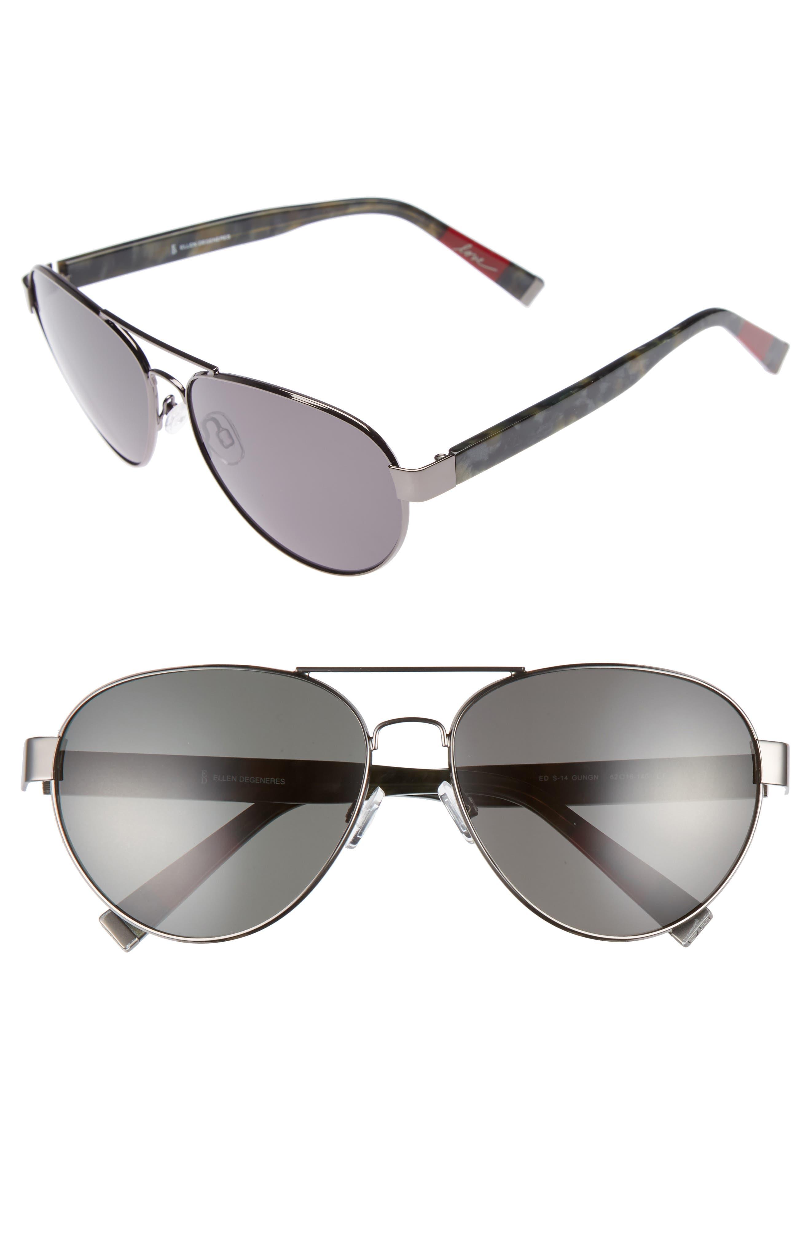 Main Image - ED Ellen DeGeneres 62mm Oversize Aviator Sunglasses