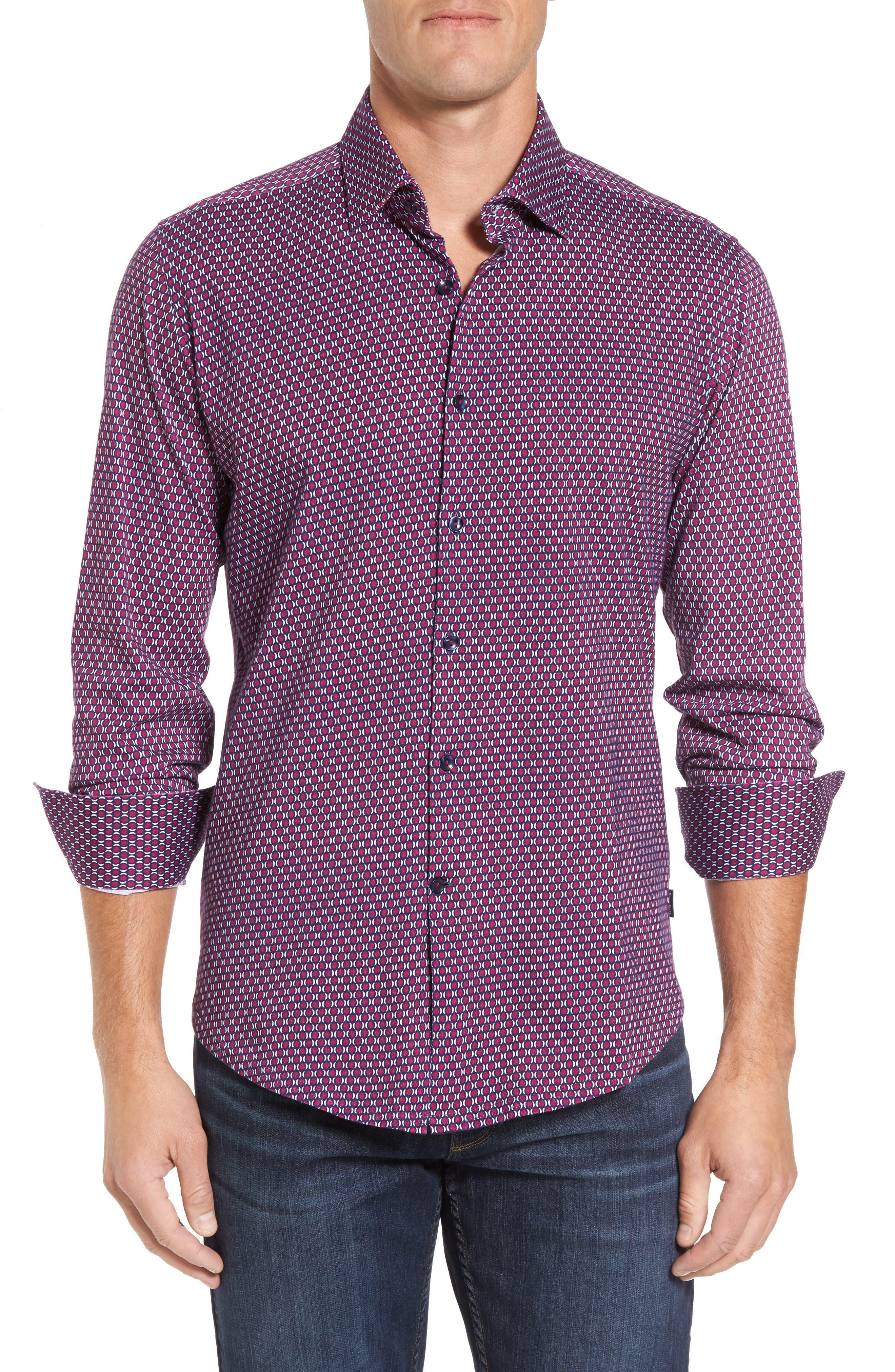 Slim Fit Geo Knit Sport Shirt,                         Main,                         color, Burgundy