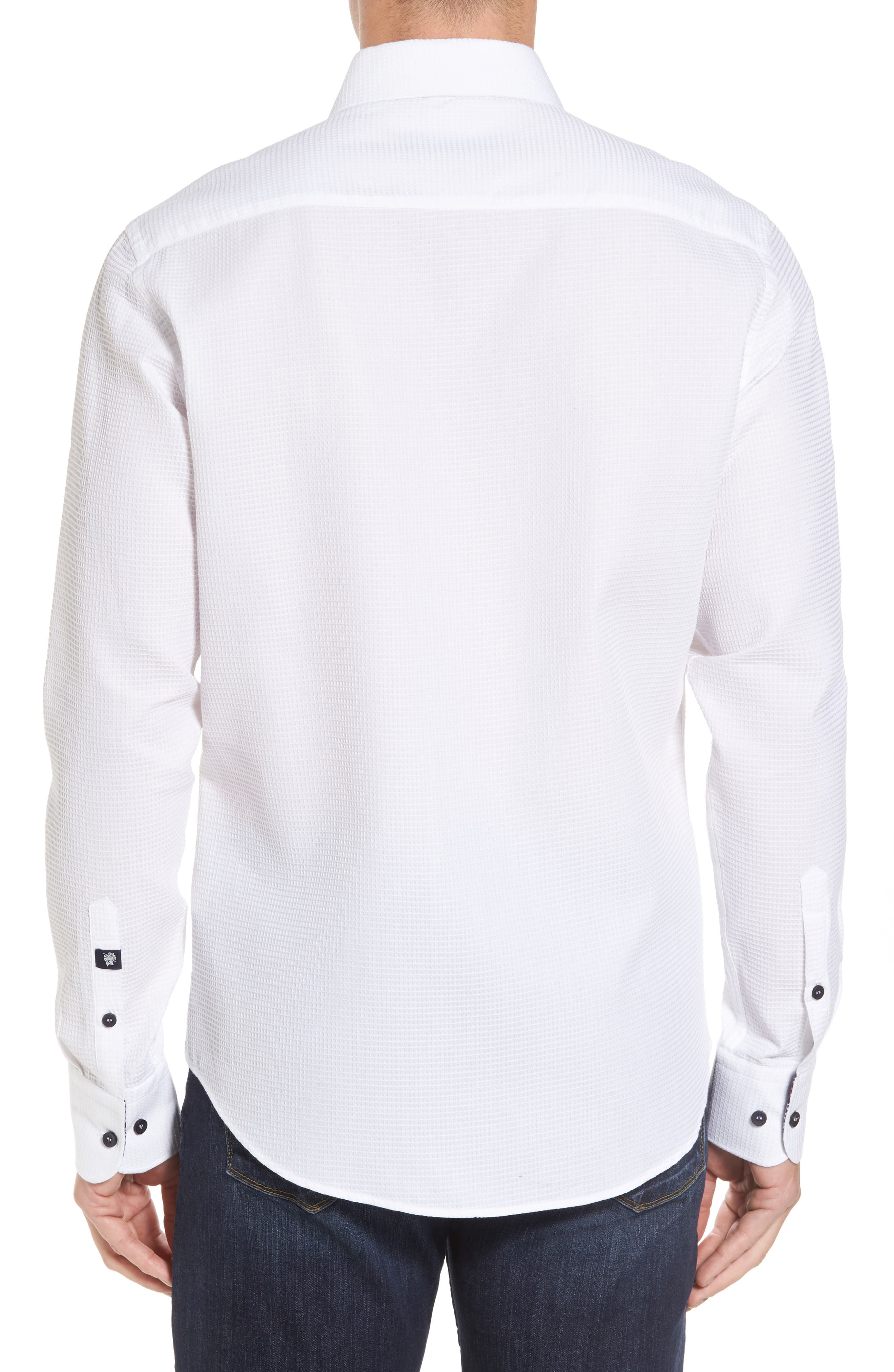 Slim Fit Waffle Texture Sport Shirt,                             Alternate thumbnail 2, color,                             White