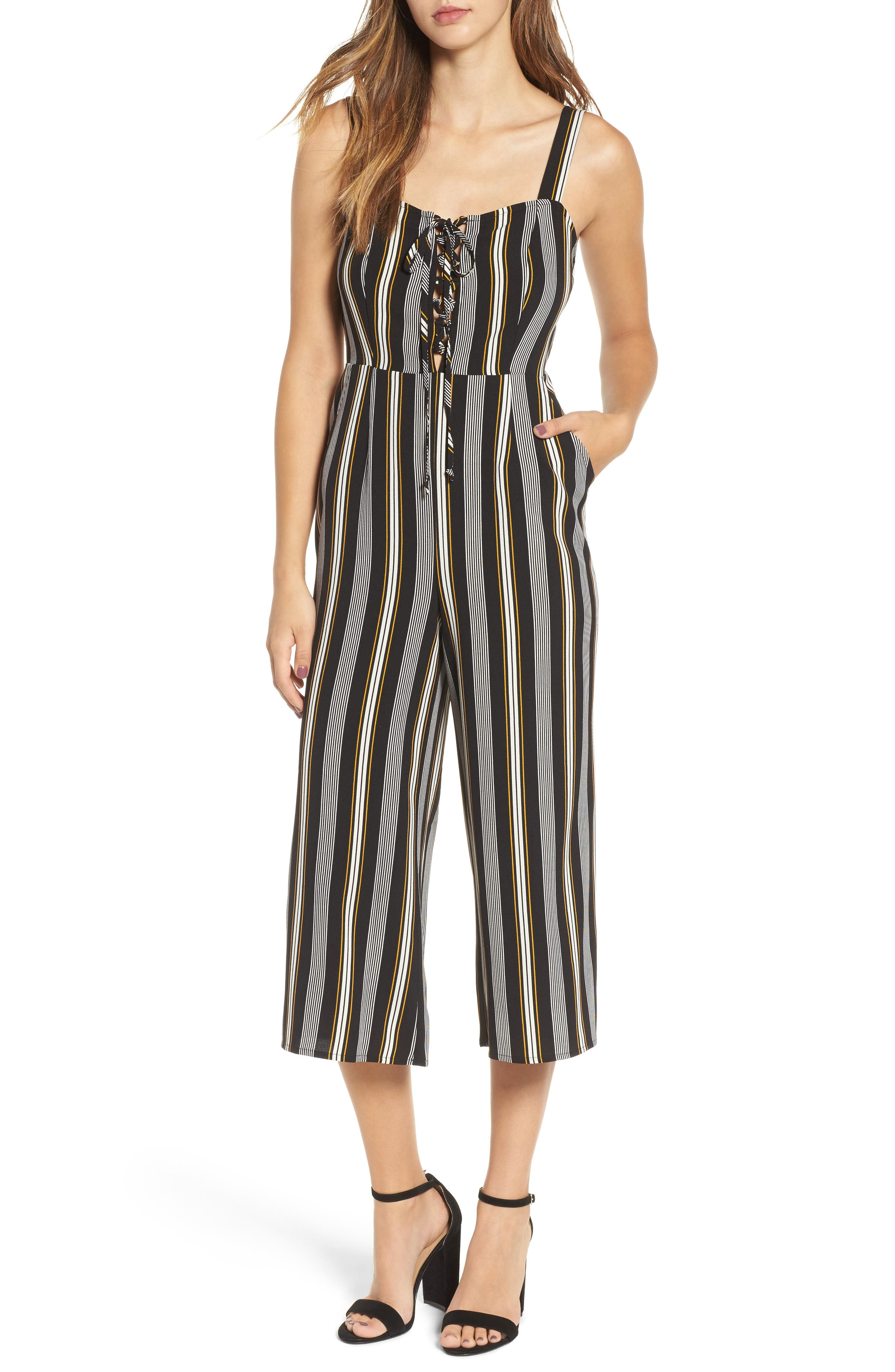 Alternate Image 1 Selected - Love, Fire Print Wide Leg Jumpsuit