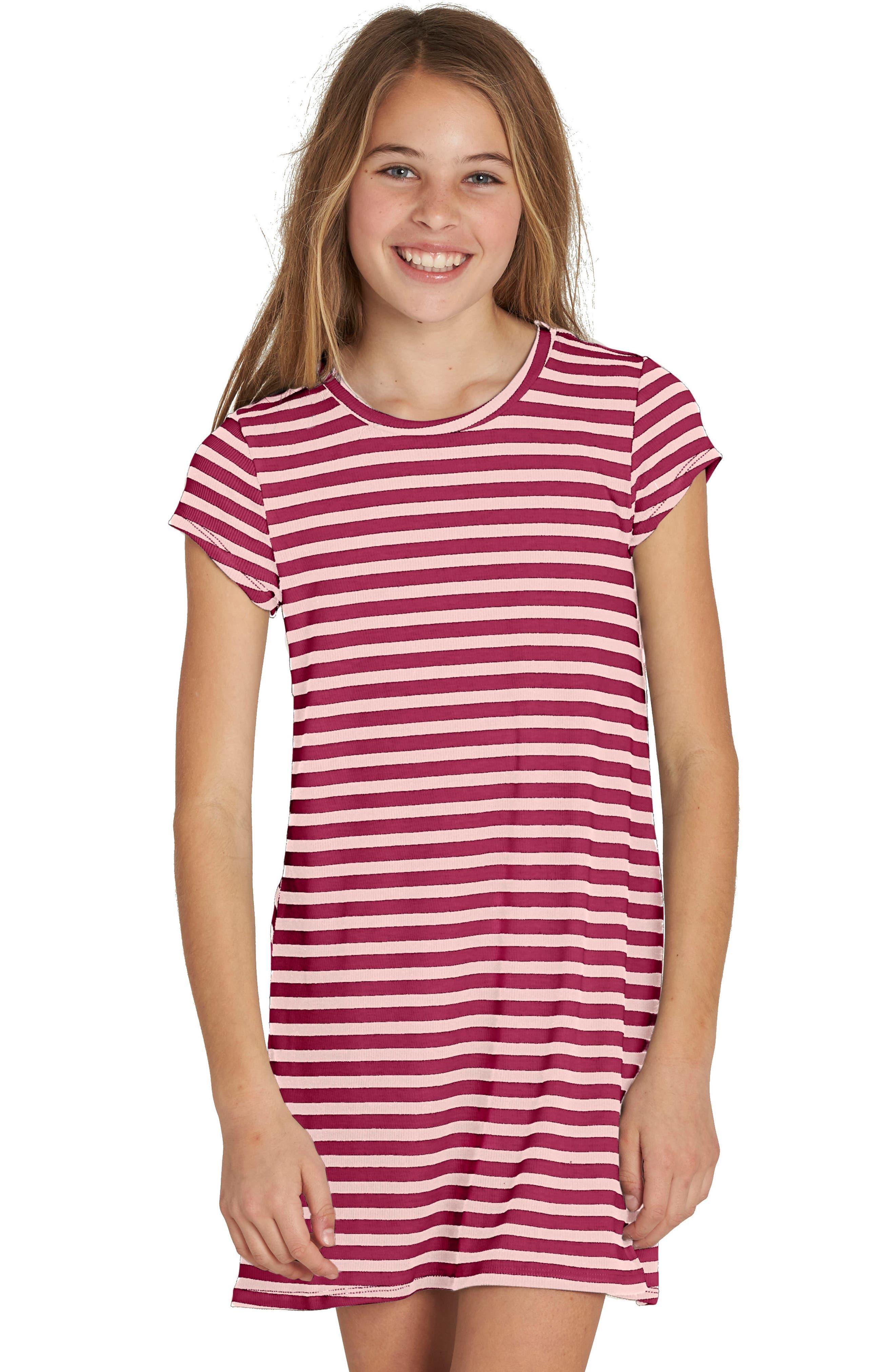 Stripe Dress,                         Main,                         color, Raspberry
