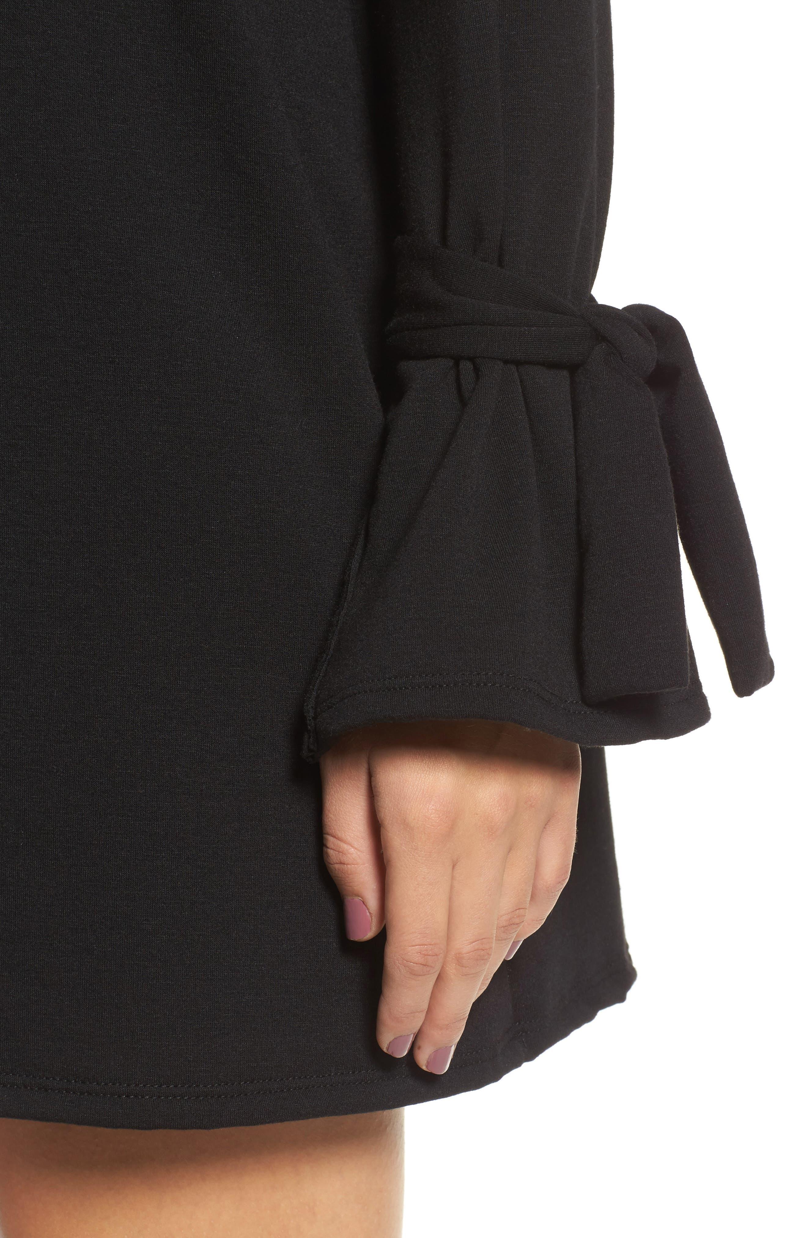 Tie Sleeve Shift Dress,                             Alternate thumbnail 4, color,                             Black