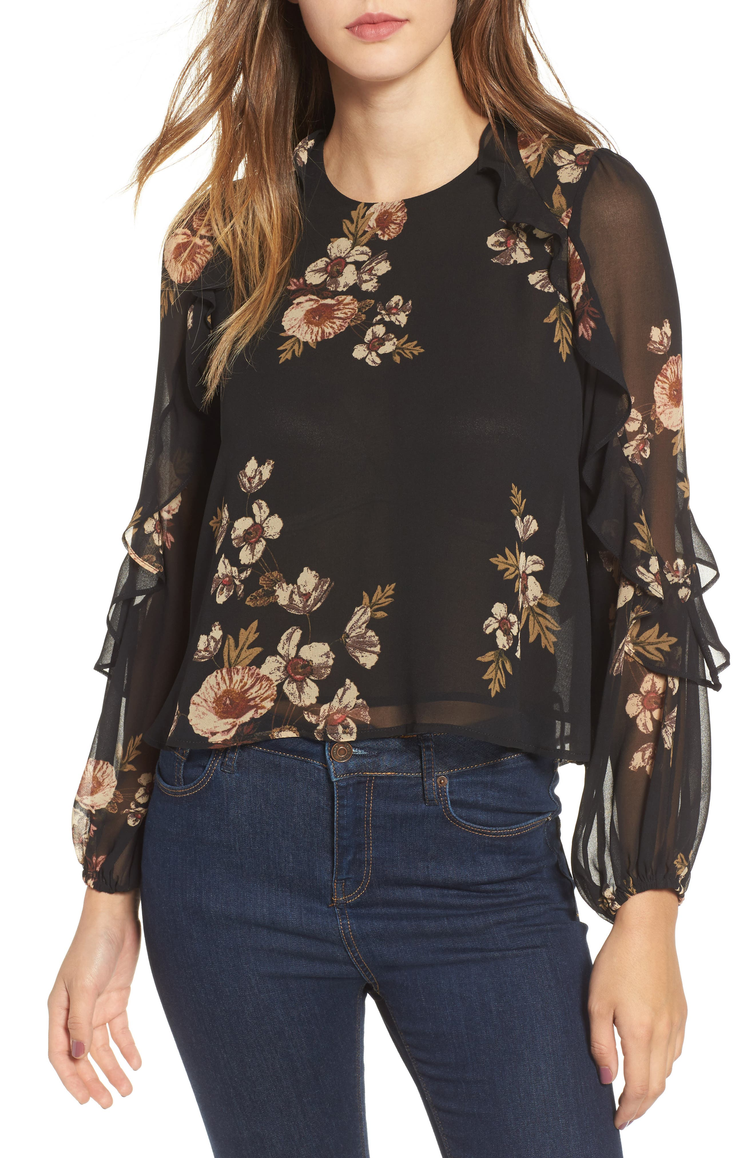 Lena Top,                             Main thumbnail 1, color,                             Black-Pink Floral