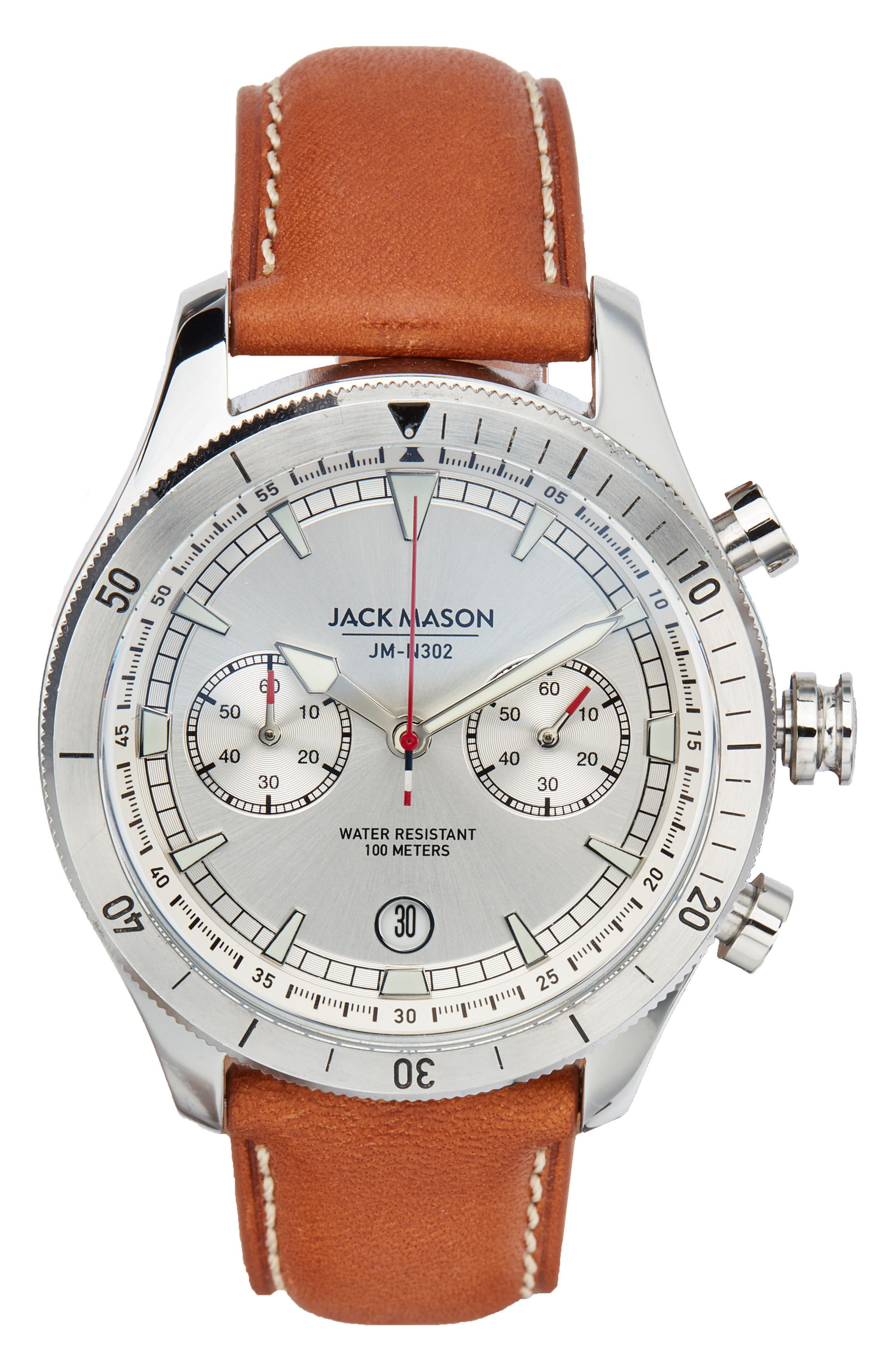 Brand Nautical A3 Chronograph Leather Strap Watch, 45mm,                             Main thumbnail 1, color,                             White/ Tan