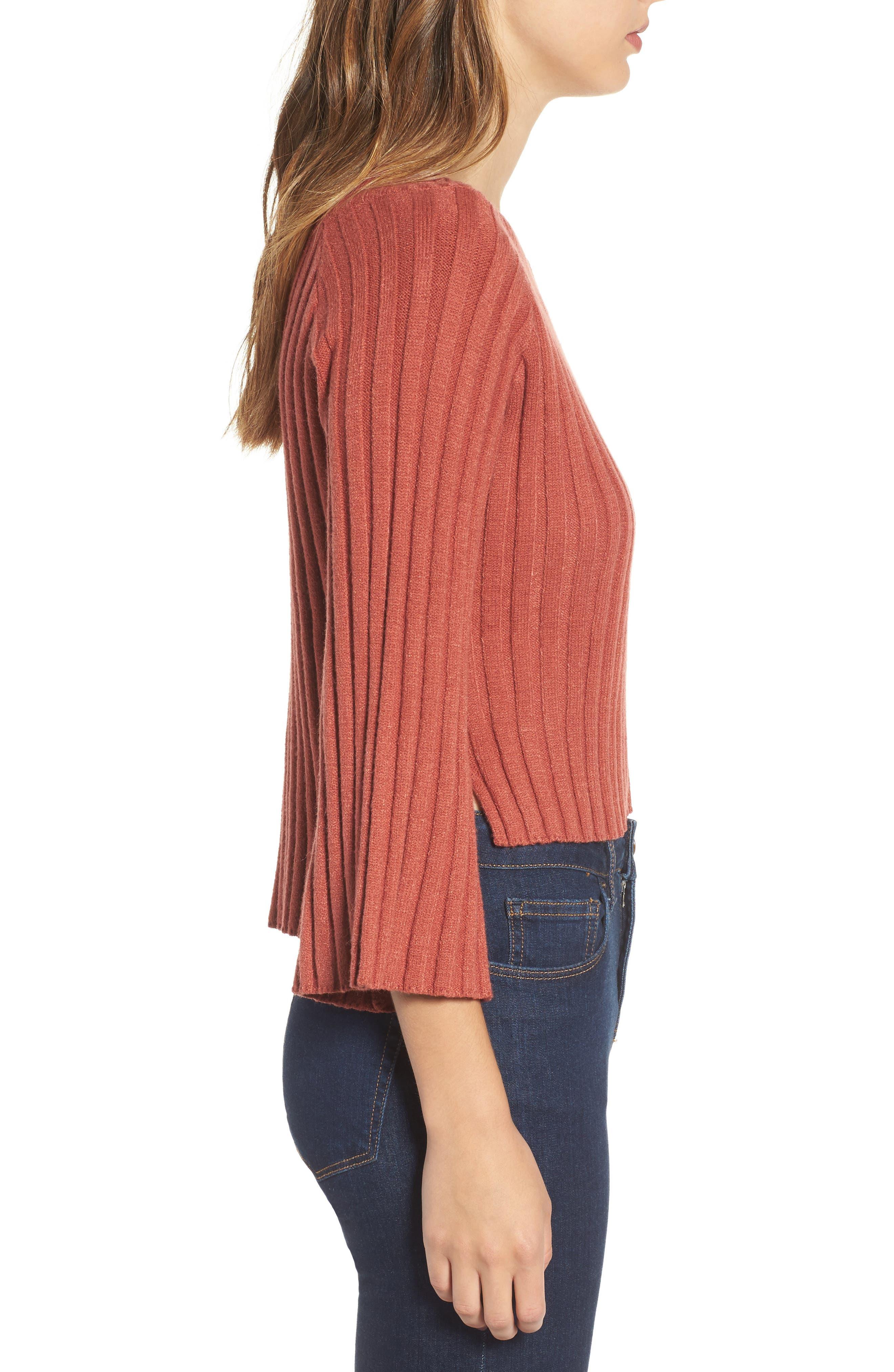 Alternate Image 3  - J.O.A. Crop Ribbed Sweater