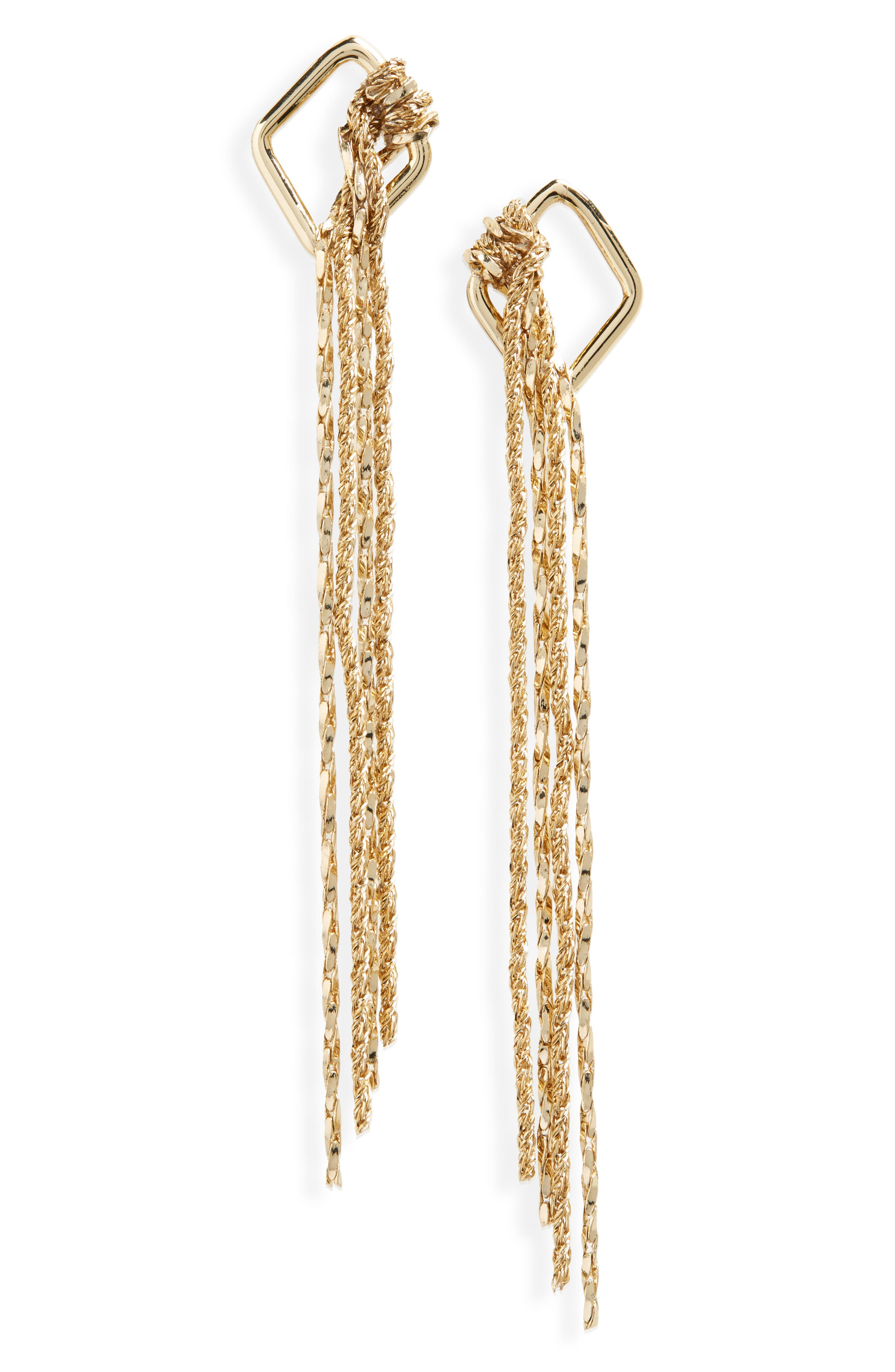 Knotted Fringe Earrings,                             Main thumbnail 1, color,                             Gold