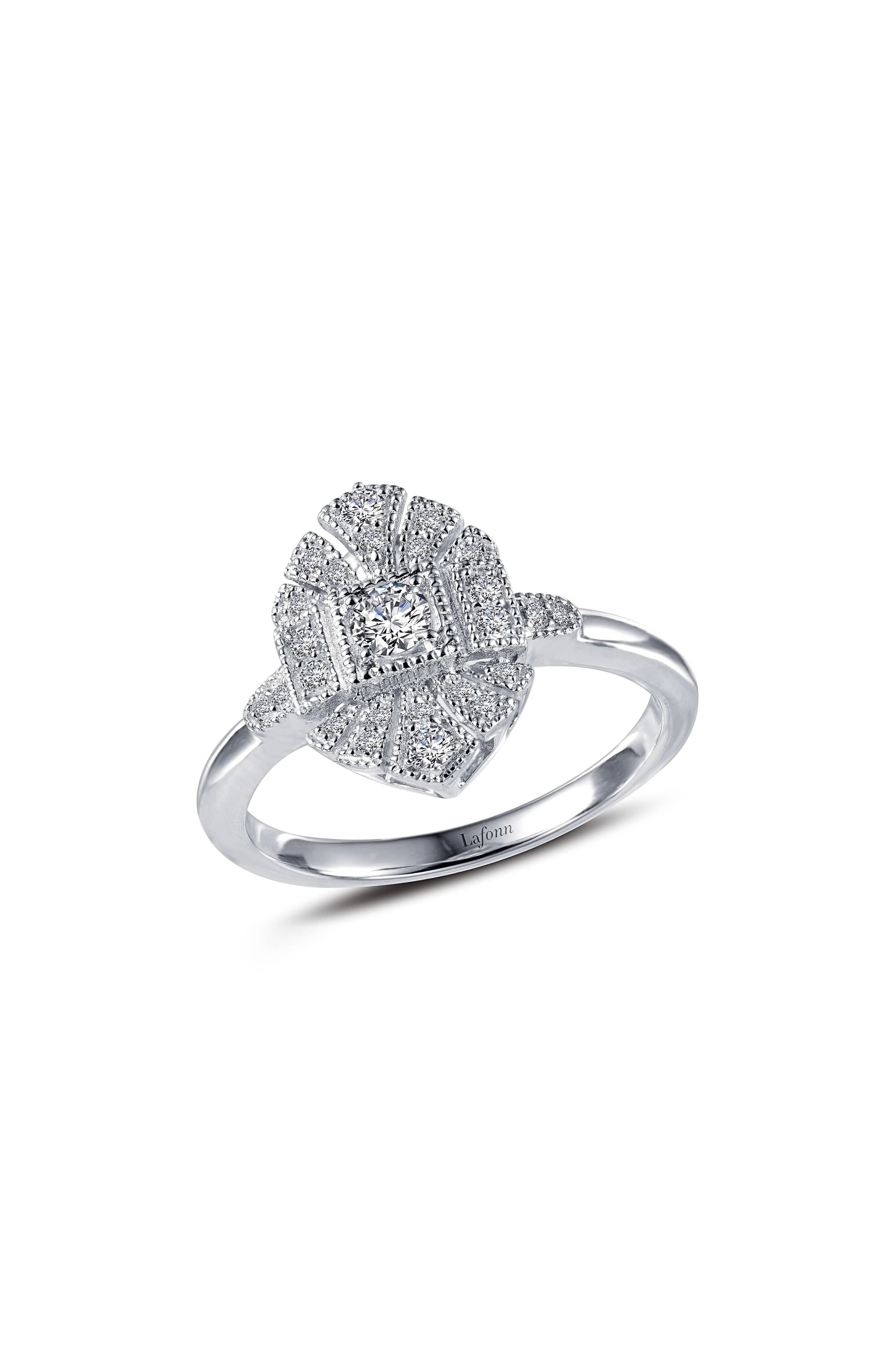 Heritage Simulated Diamond Ring,                         Main,                         color, Silver/ Clear