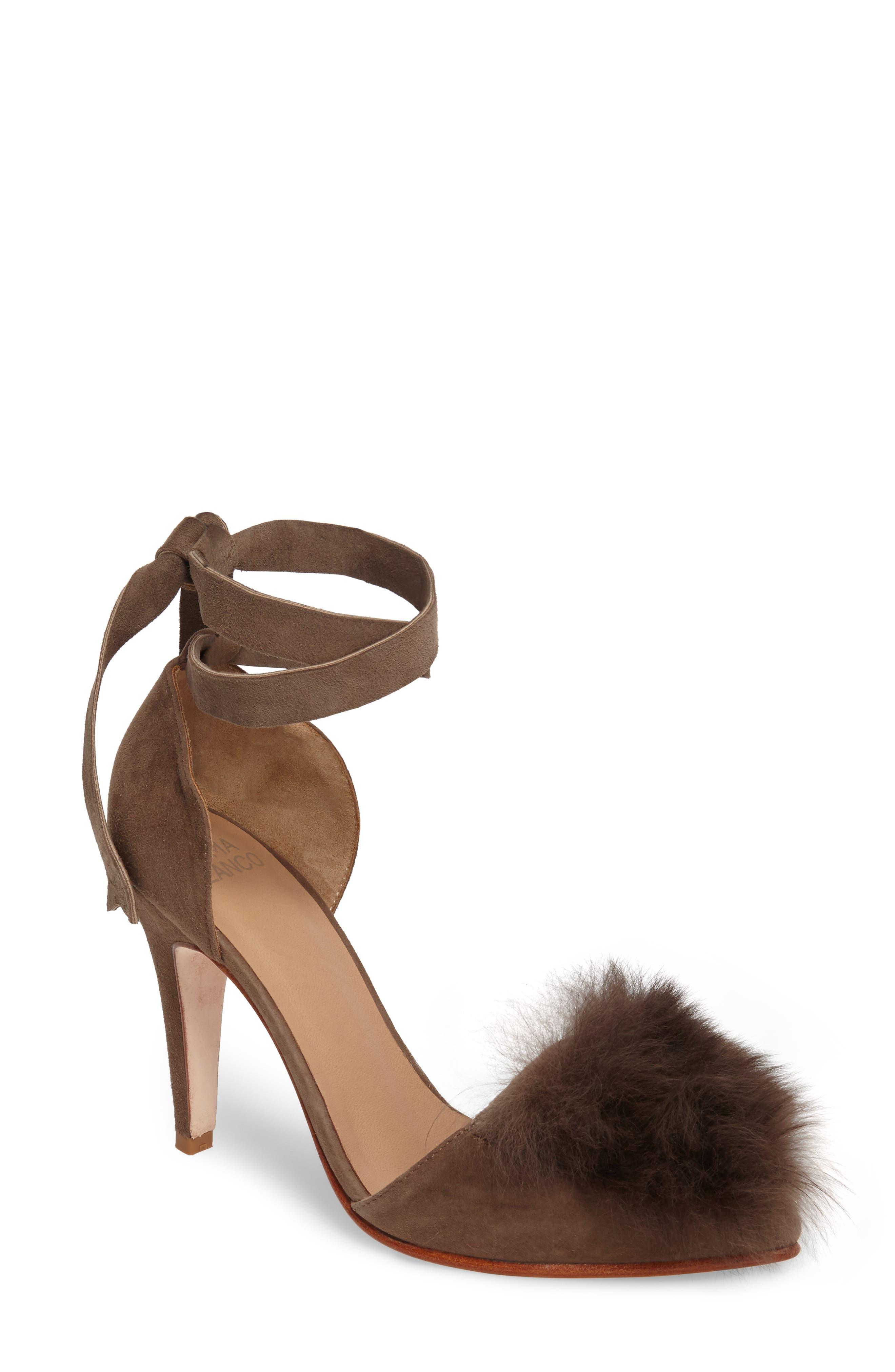 Danna Genuine Alpaca Fur Sandal,                         Main,                         color, Taupe Suede