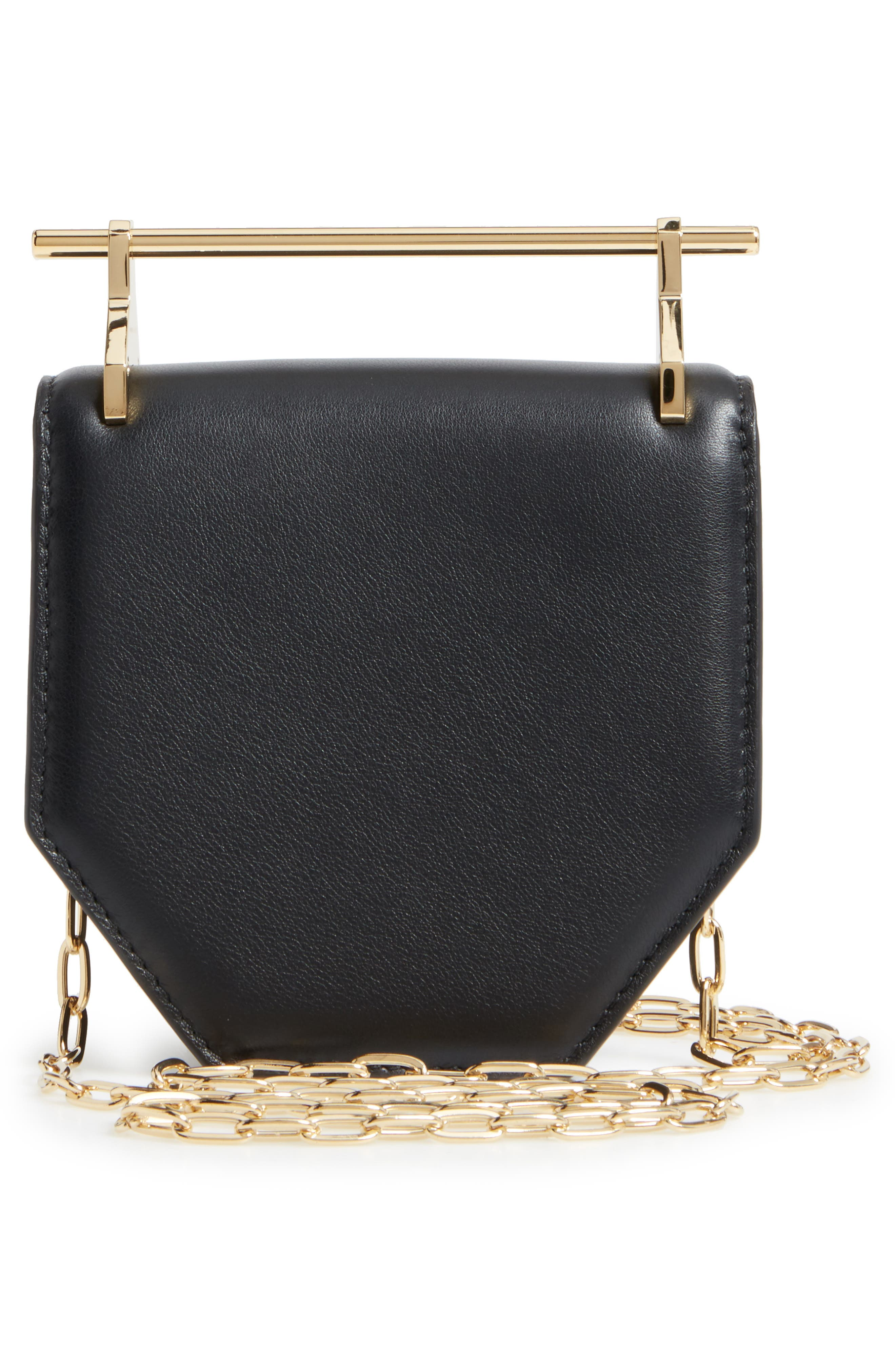 Mini Amor Fati Single Calfskin Leather Shoulder Bag,                             Alternate thumbnail 3, color,                             Black/ Gold
