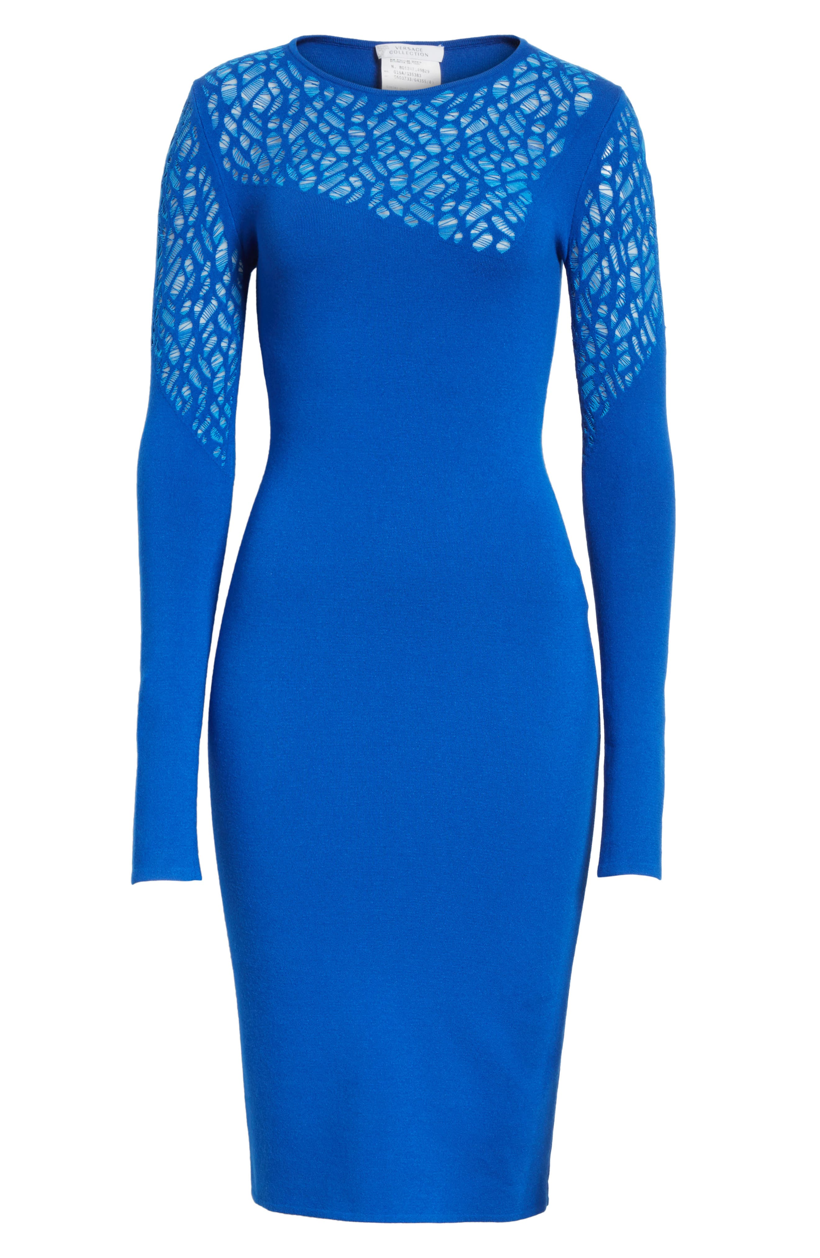 Contrast Stitch Knit Dress,                             Alternate thumbnail 6, color,                             Royal Blue/ Light Blue