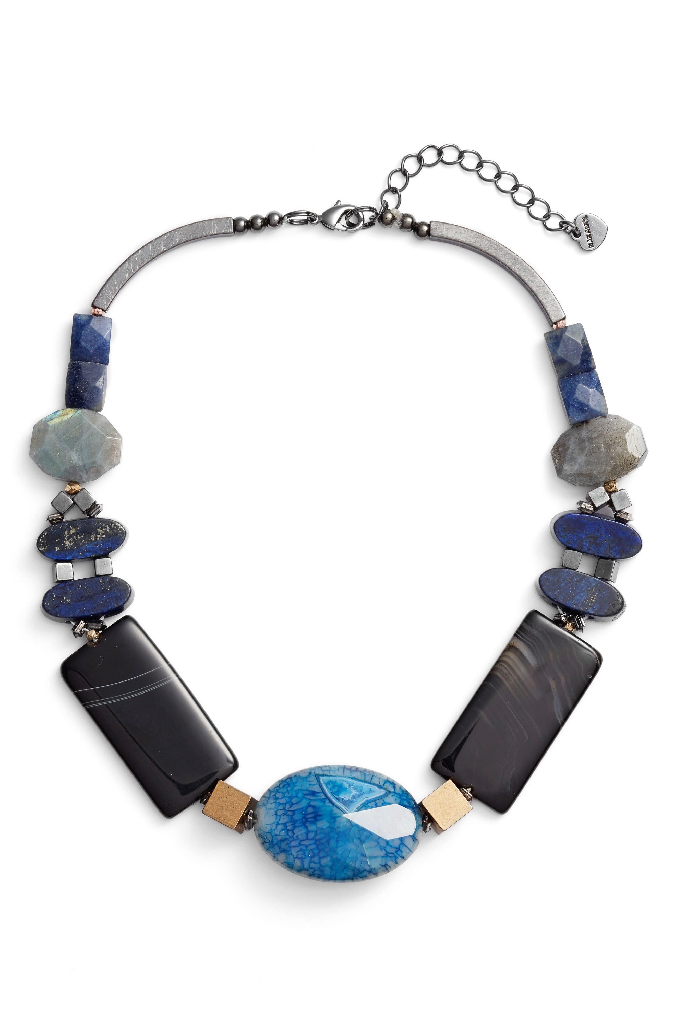 Alternate Image 2  - Nakamol Design Chunky Agate & Lapis Short Necklace