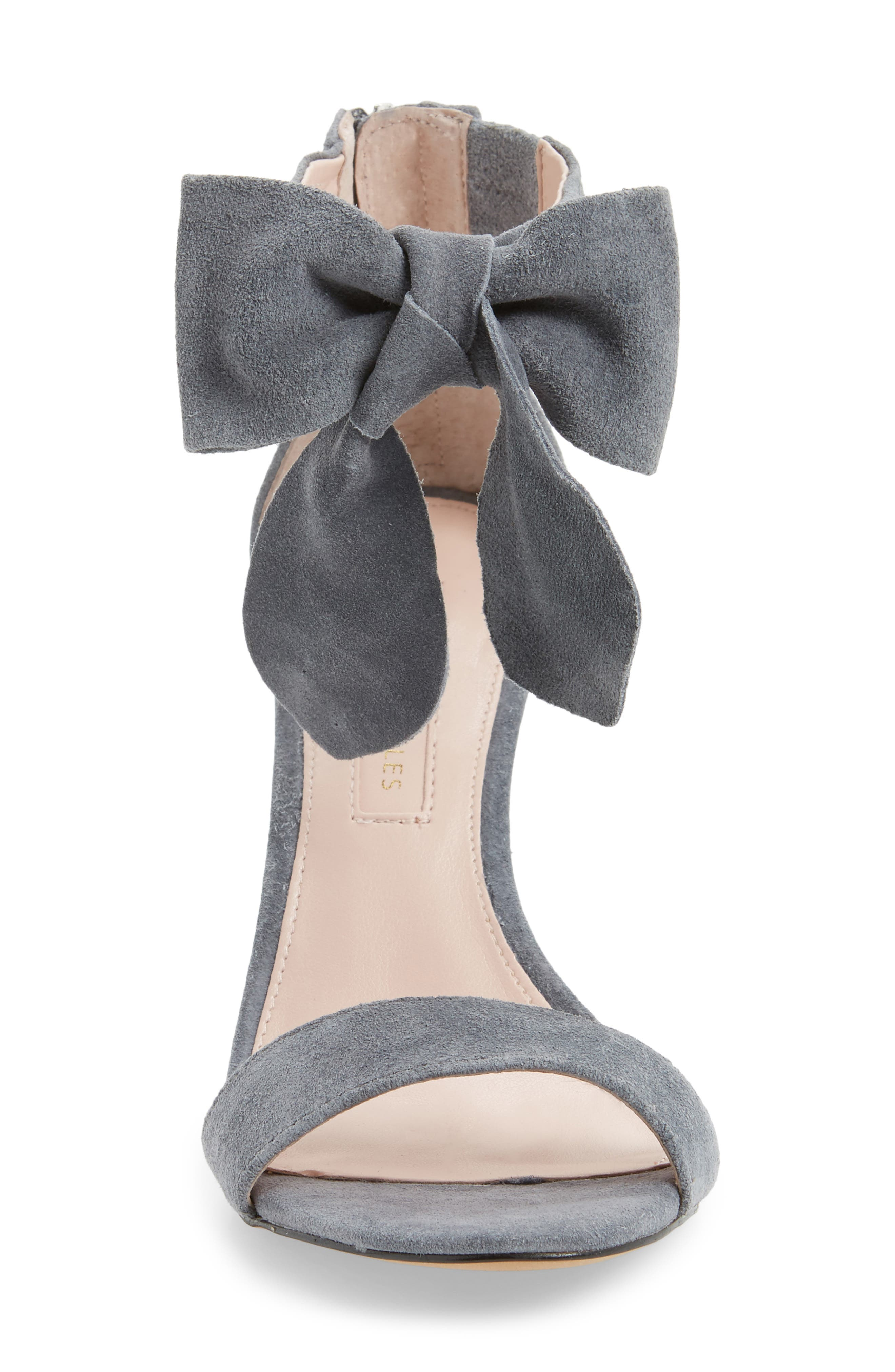 Jax Ankle Bow Pump,                             Alternate thumbnail 4, color,                             Grey Suede