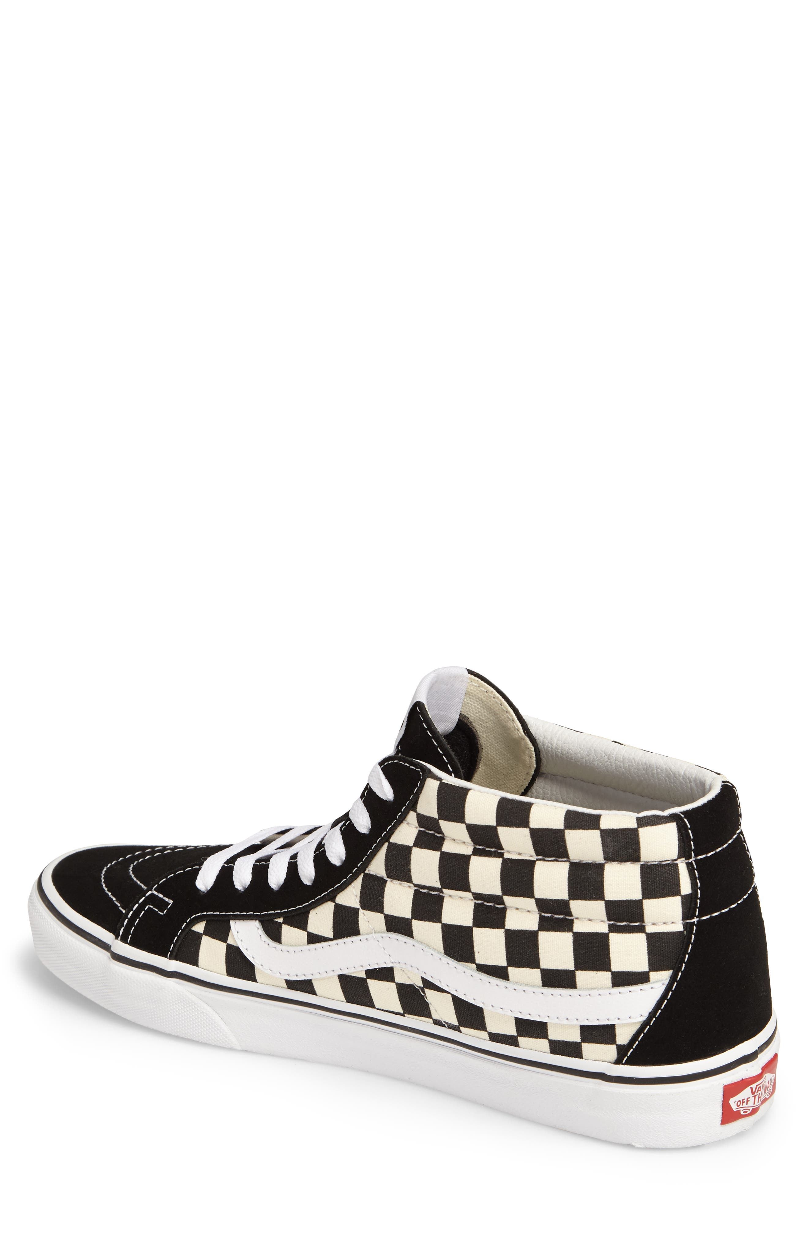 Sk8-Mid Reissue Sneaker,                             Alternate thumbnail 2, color,                             White Checker Canvas/ Suede