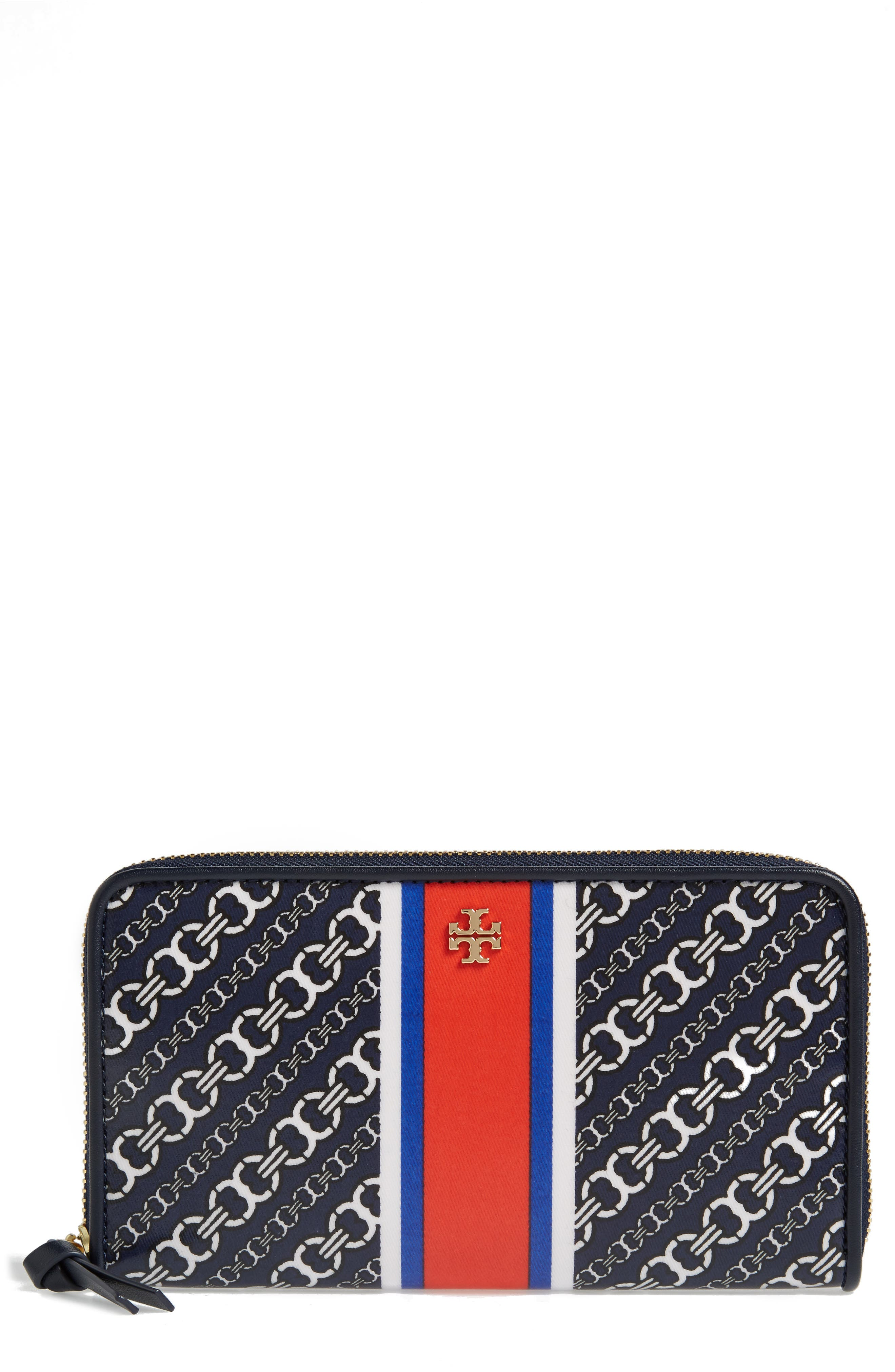 Main Image - Tory Burch Gemini Link Coated Canvas Continental Wallet