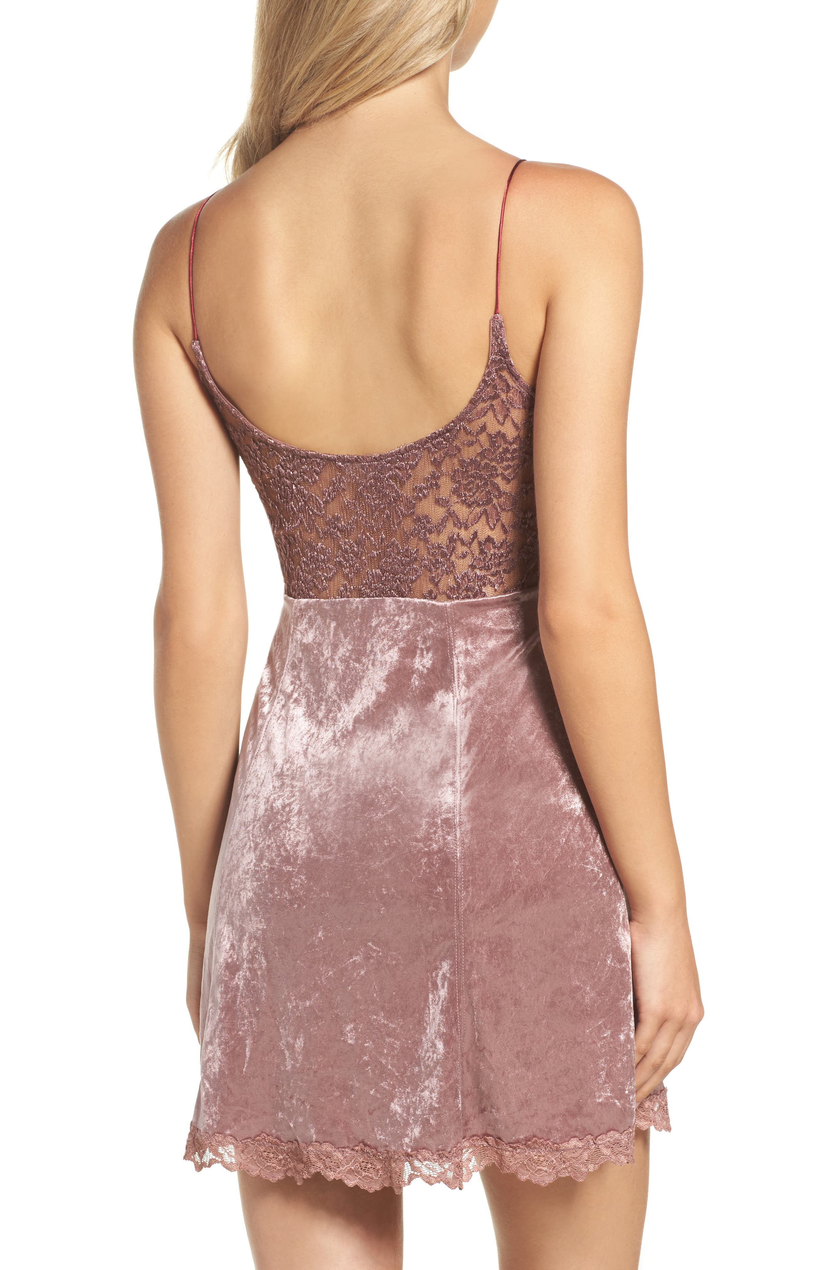 Intimately FP Velvet Chemise,                             Alternate thumbnail 2, color,                             Mauve