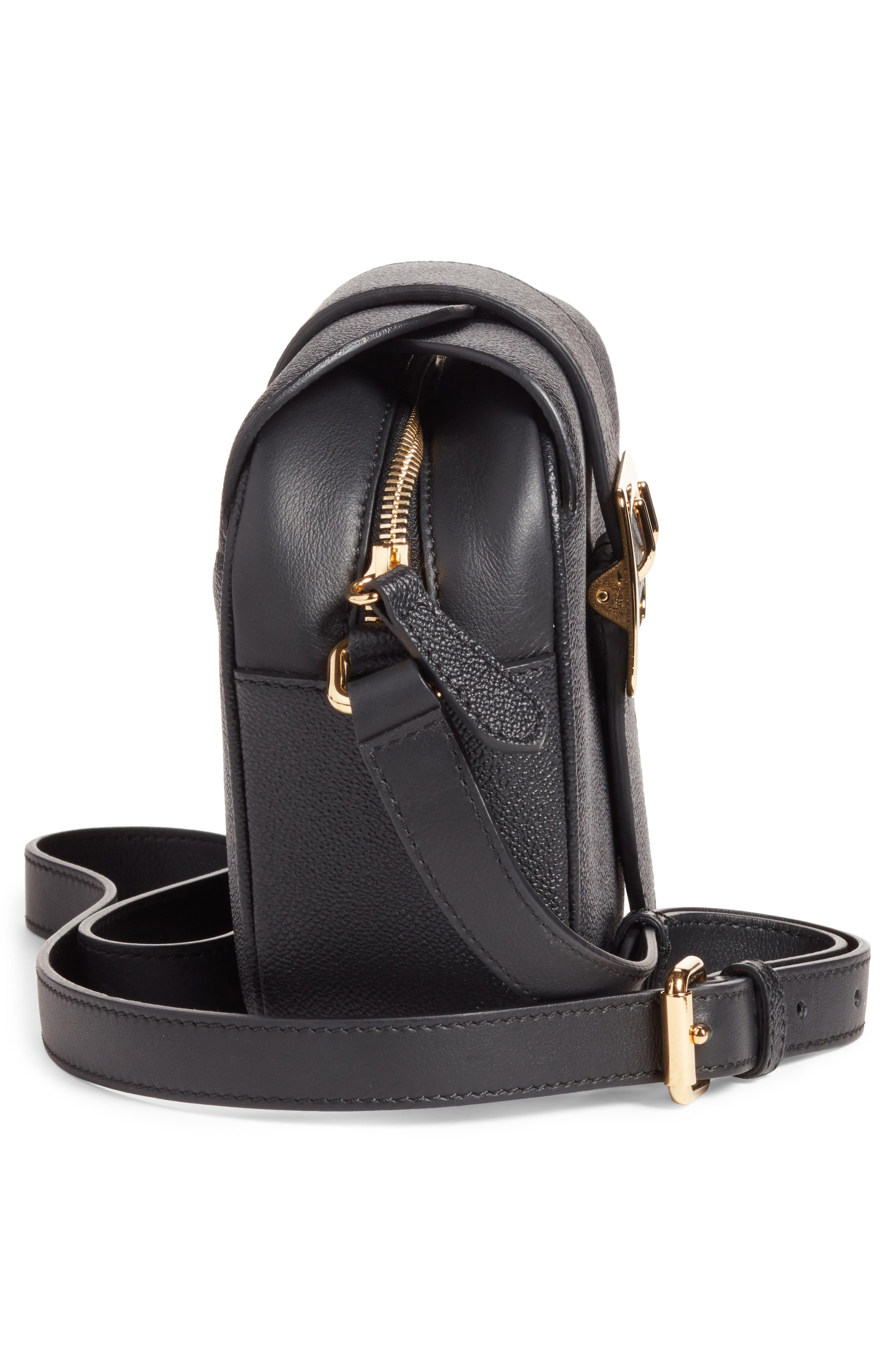Small Buckle Leather Crossbody Bag,                             Alternate thumbnail 4, color,                             Black