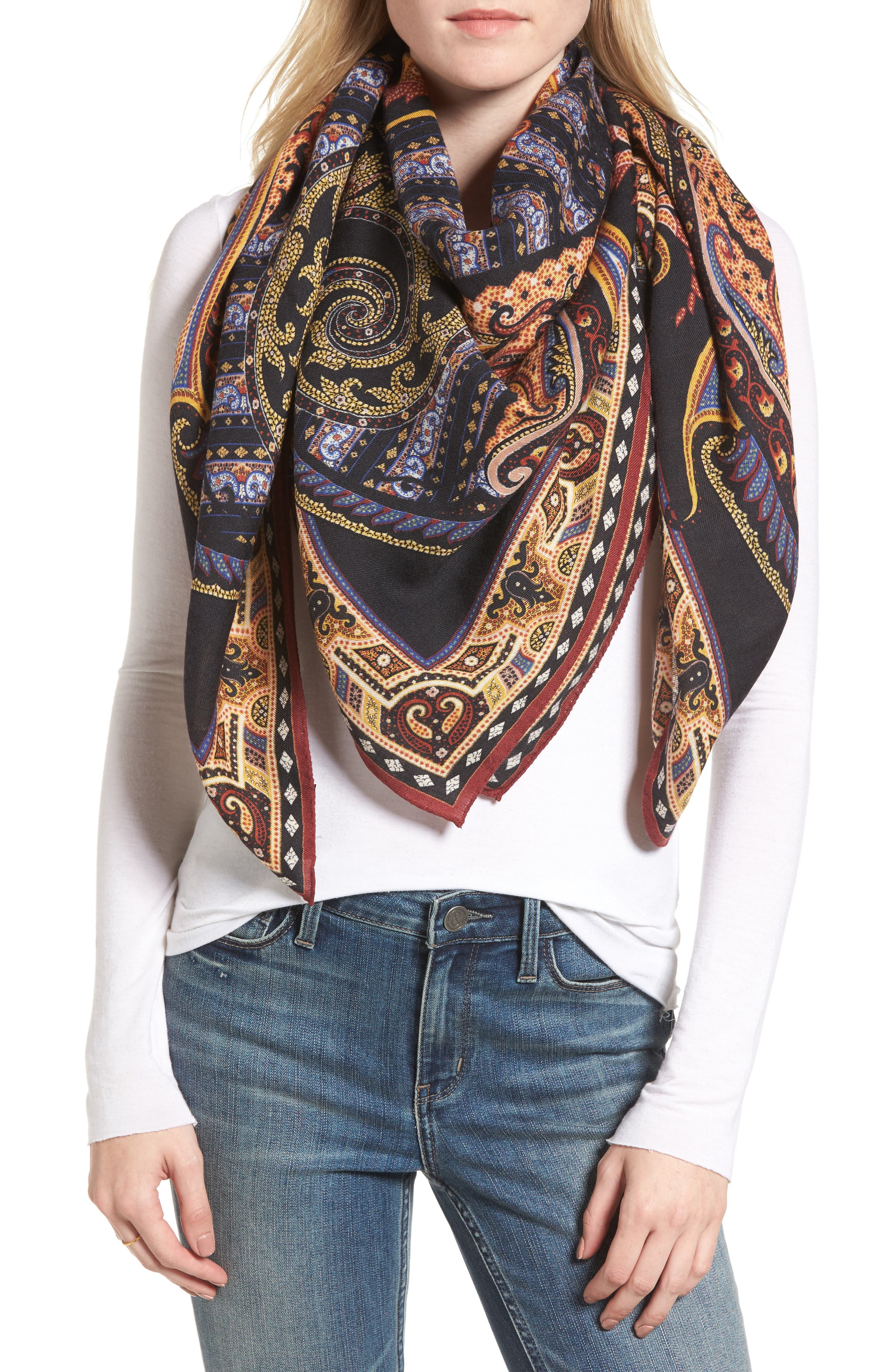 Etro Paisley Wool & Silk Scarf