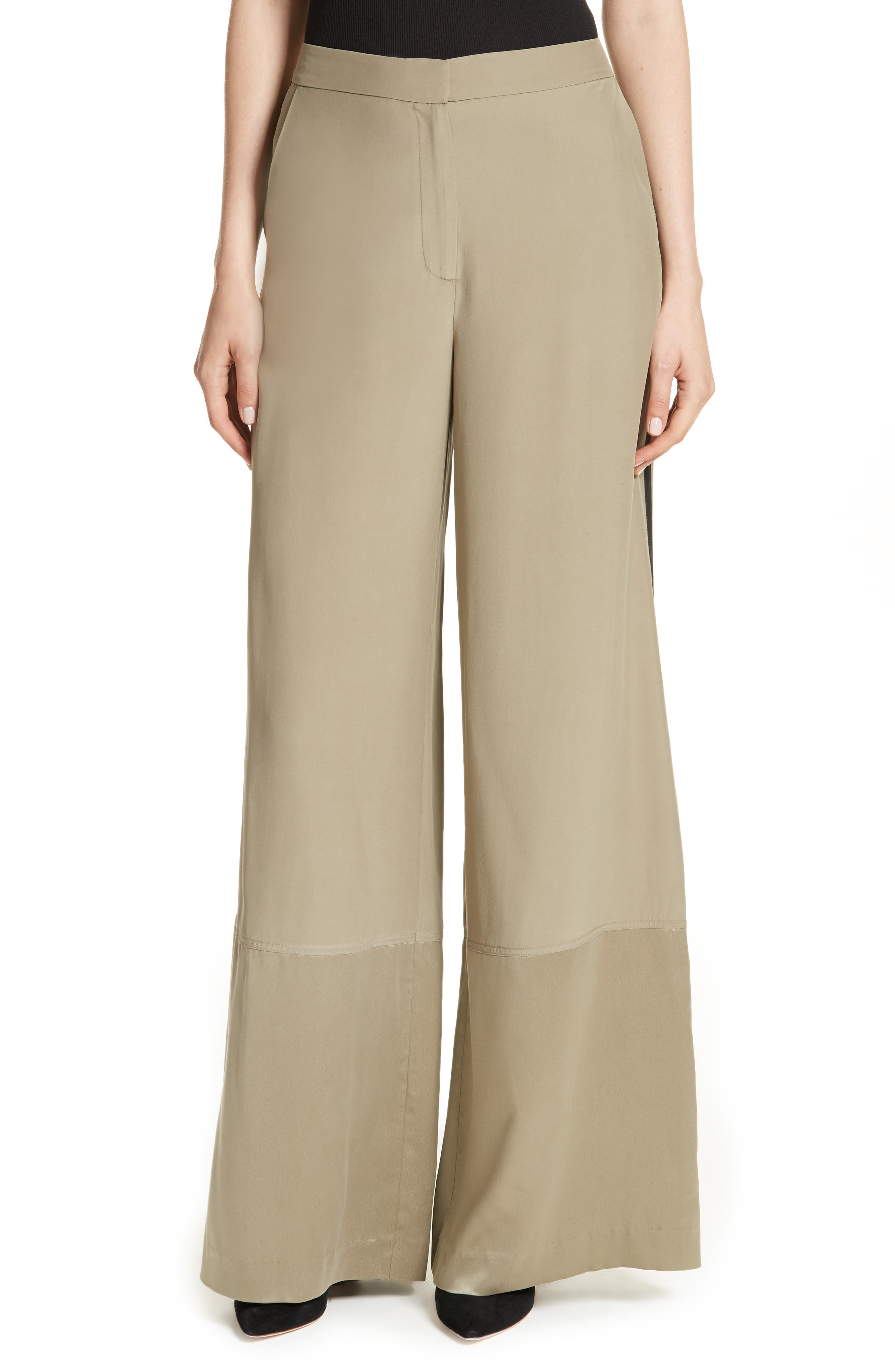 Satin Contrast Wide Leg Silk Pants,                             Main thumbnail 1, color,                             Light Army