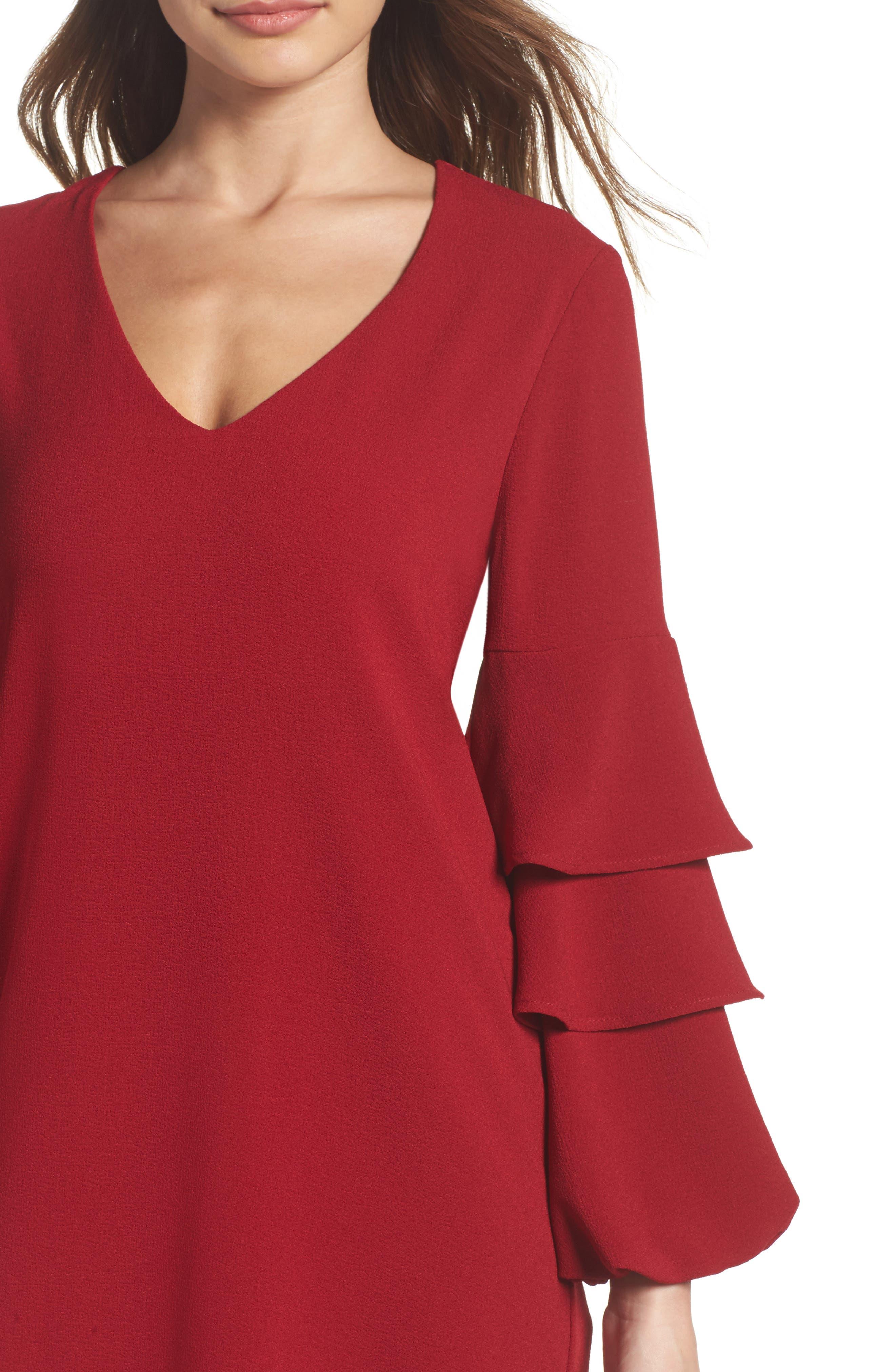 Alternate Image 4  - Charles Henry Tiered Ruffle Sleeve Dress (Regular & Petite)