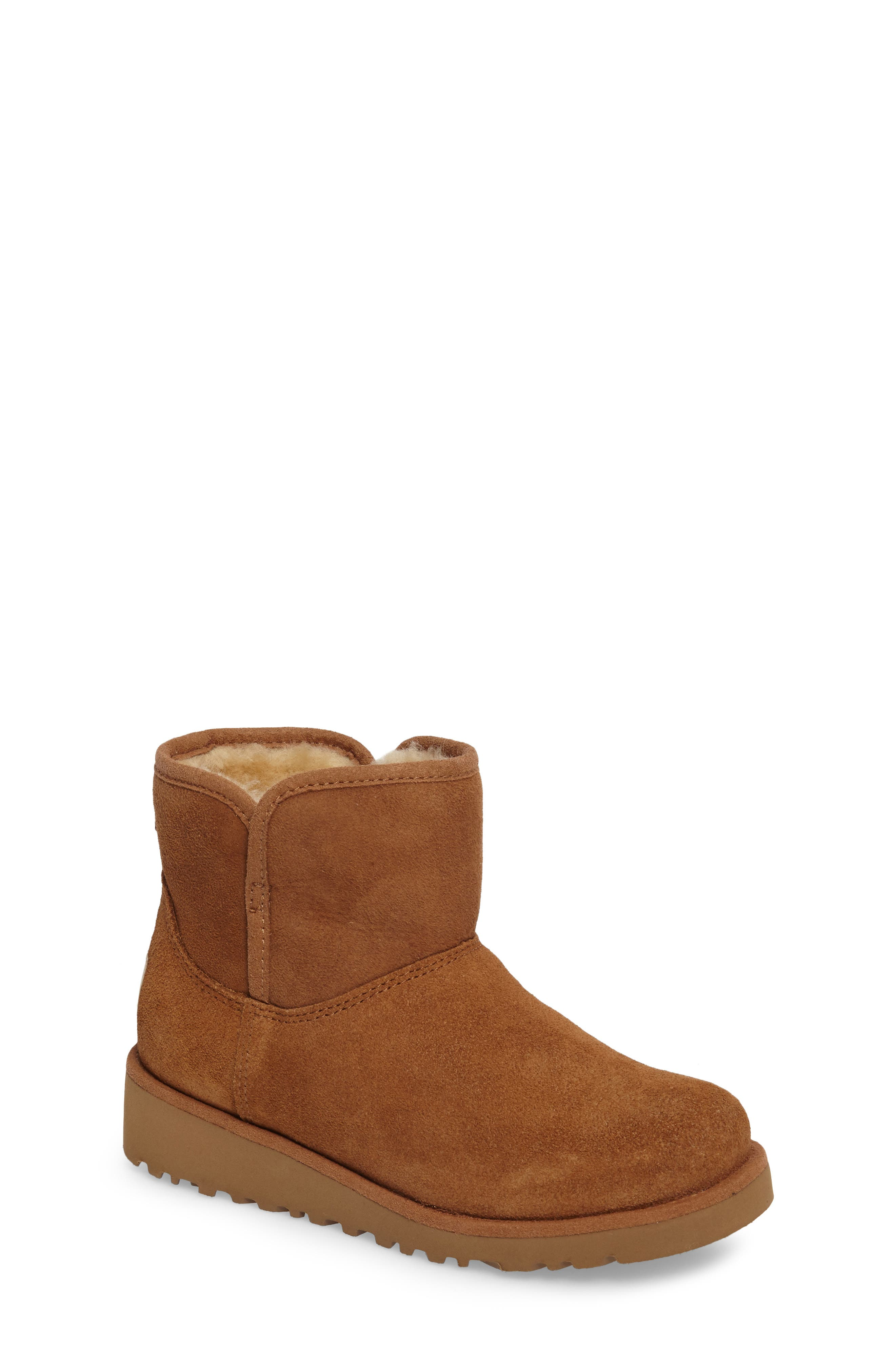 Katalina II Water-Resistant Genuine Shearling Bootie,                         Main,                         color, Chestnut