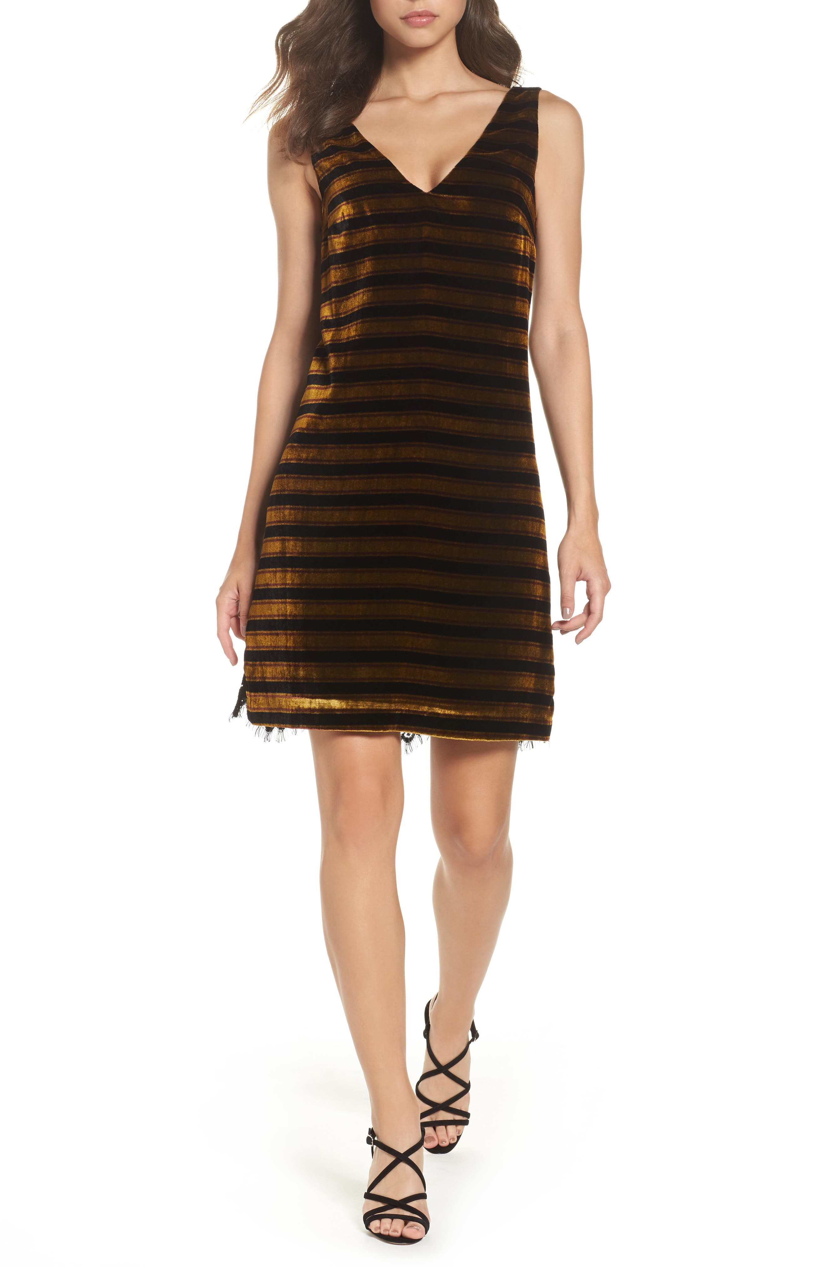 Emma Stripe Dress,                         Main,                         color, Black/ Willow Stripe