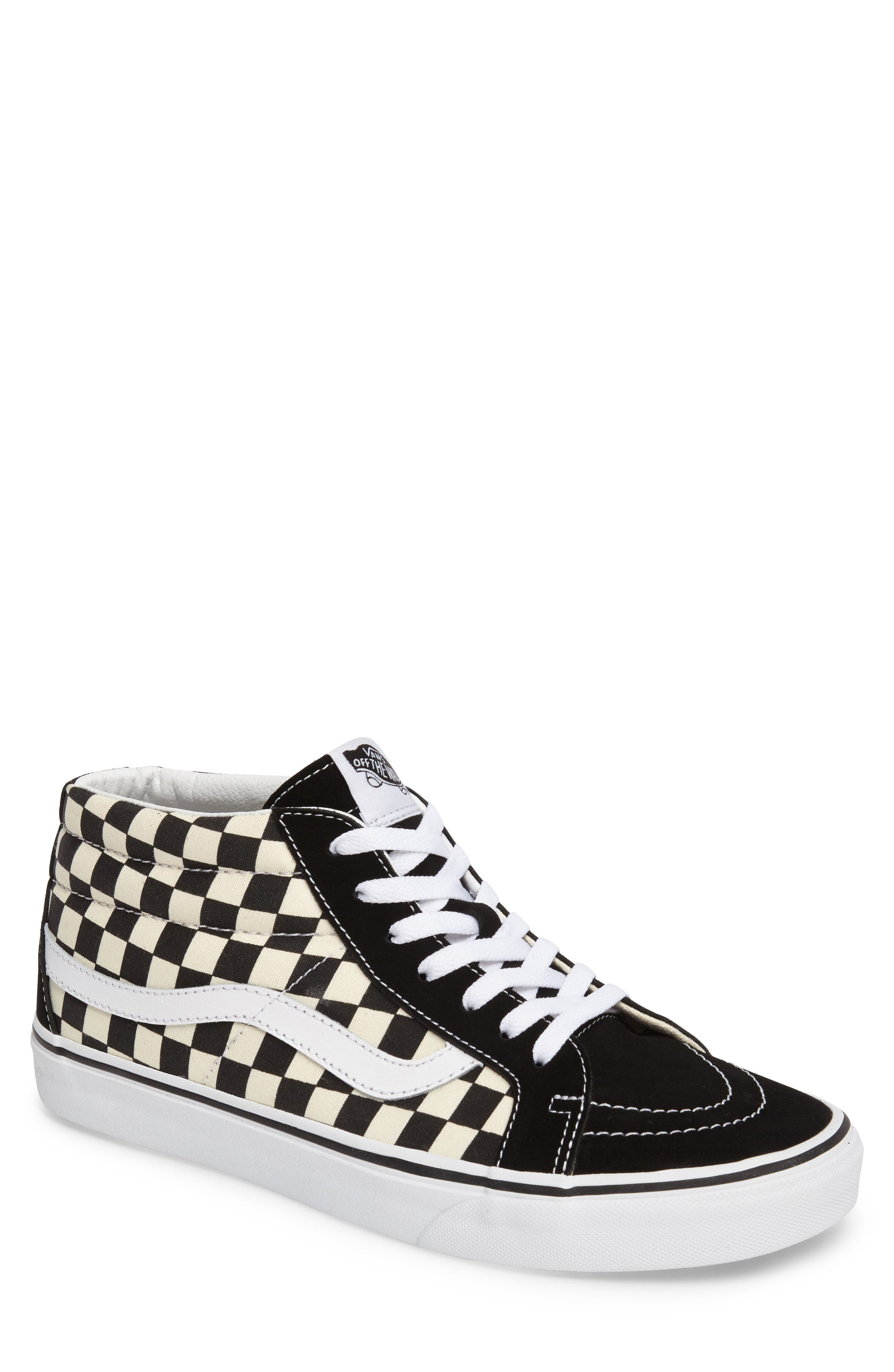Sk8-Mid Reissue Sneaker,                         Main,                         color, White Checker Canvas/ Suede