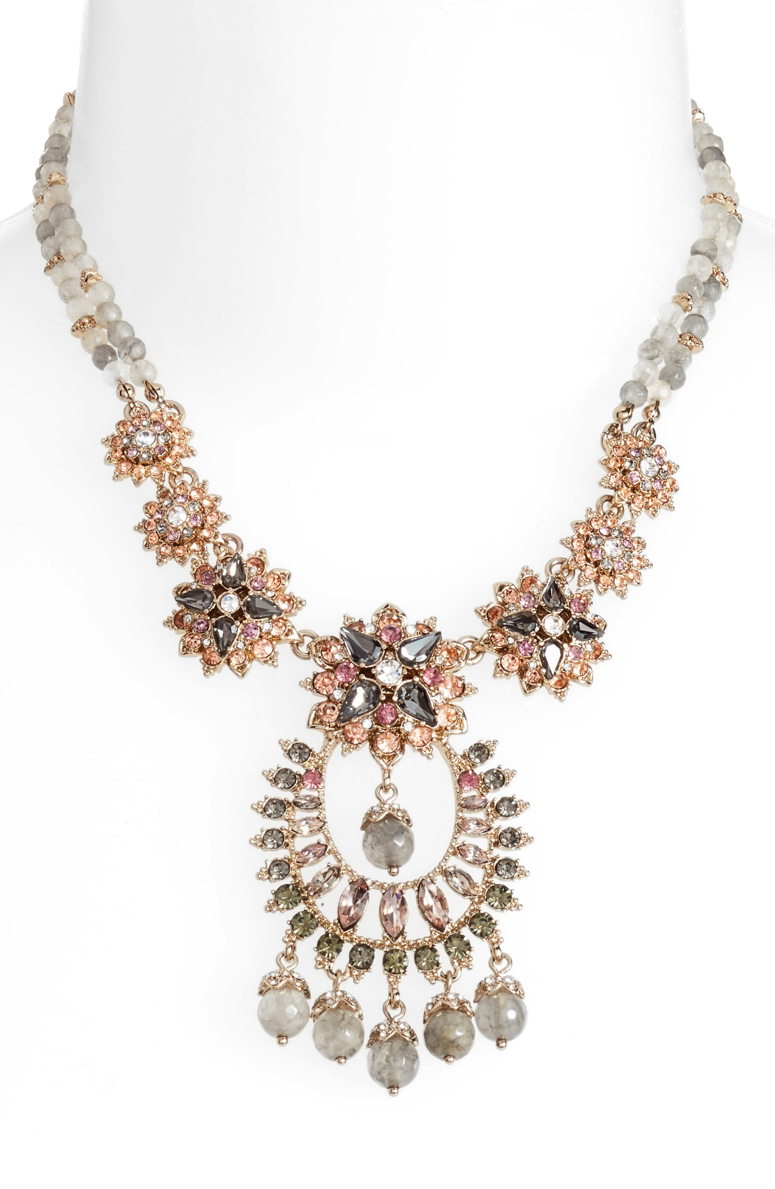 Drama Crystal Pendant Necklace,                             Alternate thumbnail 2, color,                             Gold/ Grey Multi