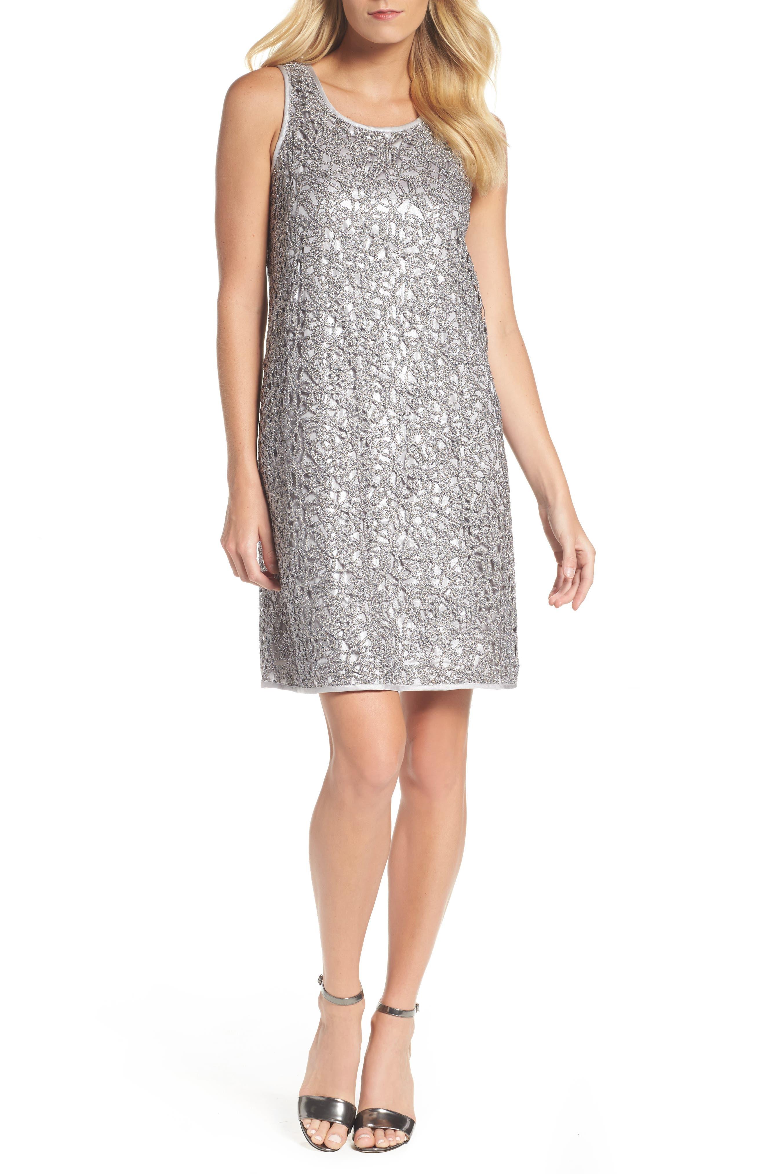 Metallic Lace Shift Dress,                         Main,                         color, Silver