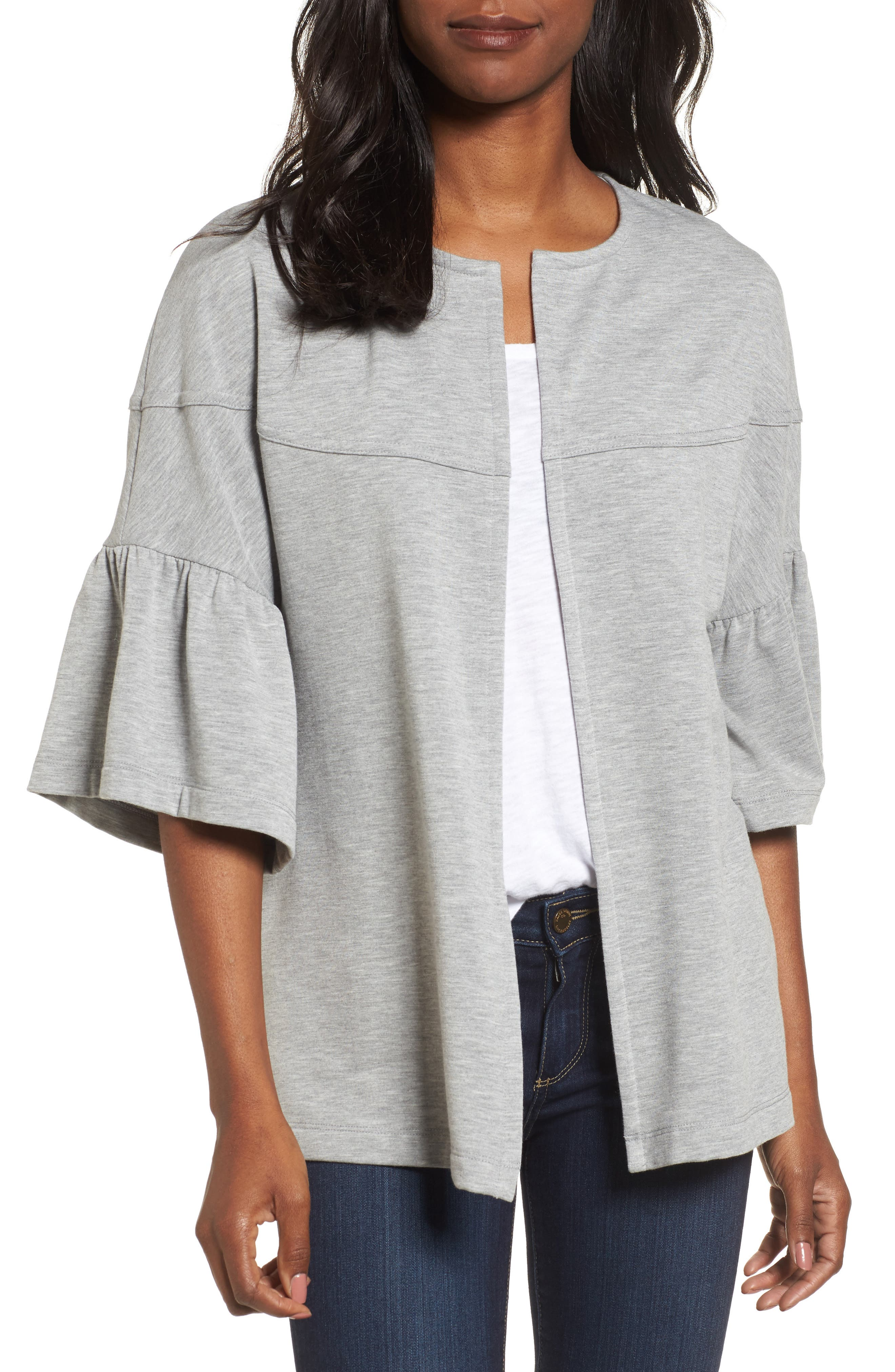 Bell Sleeve French Terry Jacket,                         Main,                         color, Heather