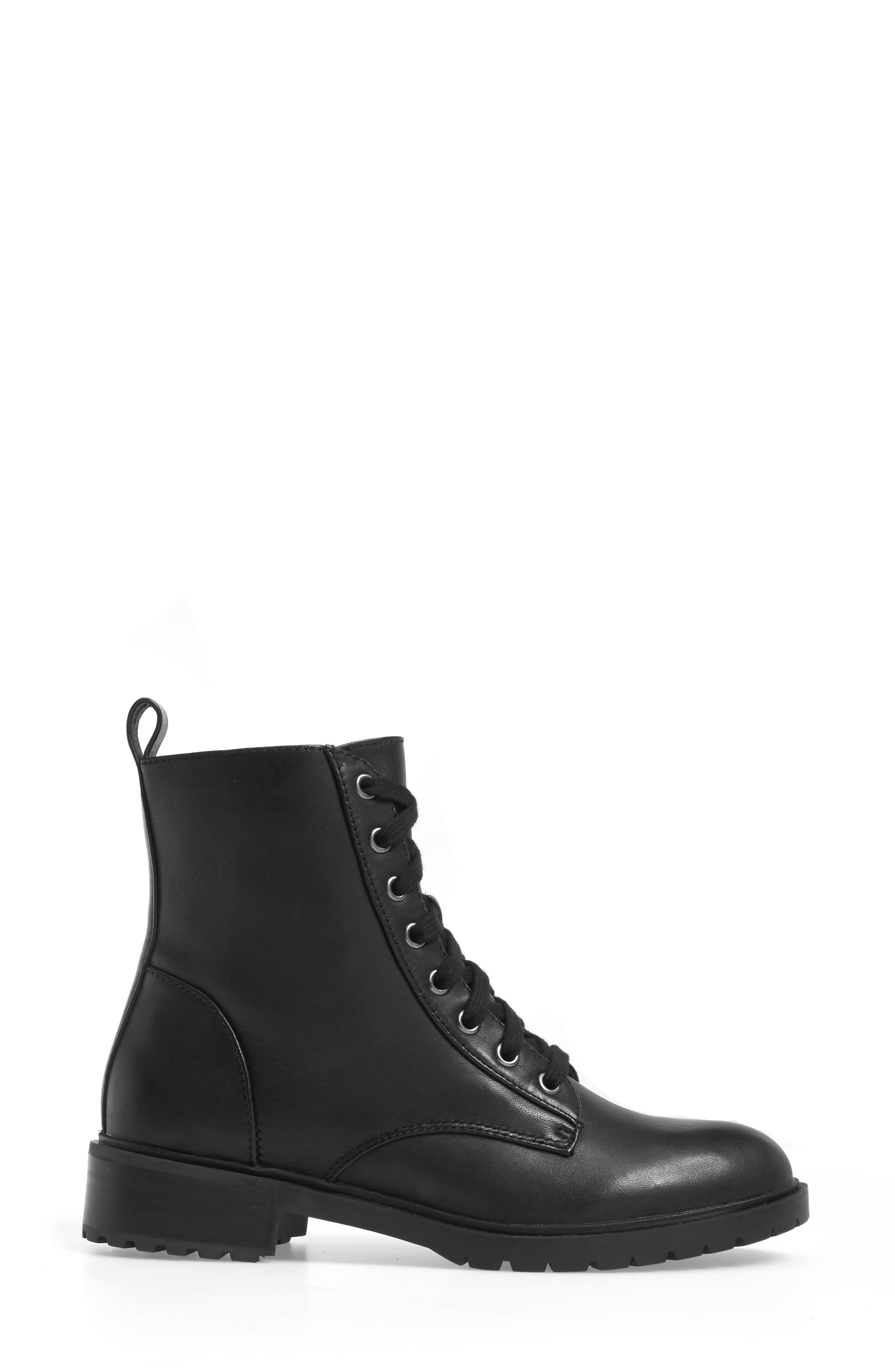 Officer Combat Boot,                             Alternate thumbnail 3, color,                             Black Leather