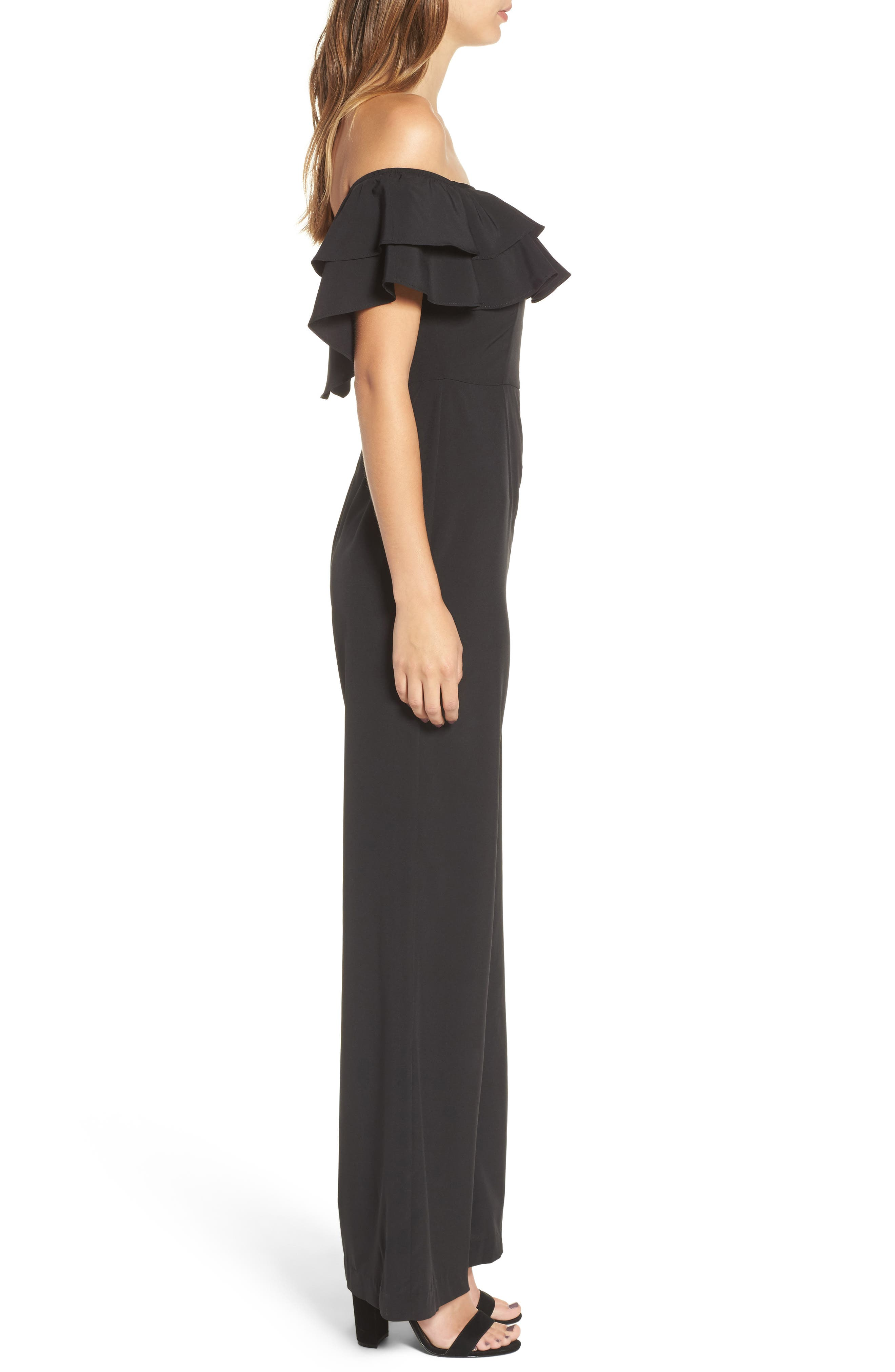 Alternate Image 3  - Socialite Ruffle Front Jumpsuit