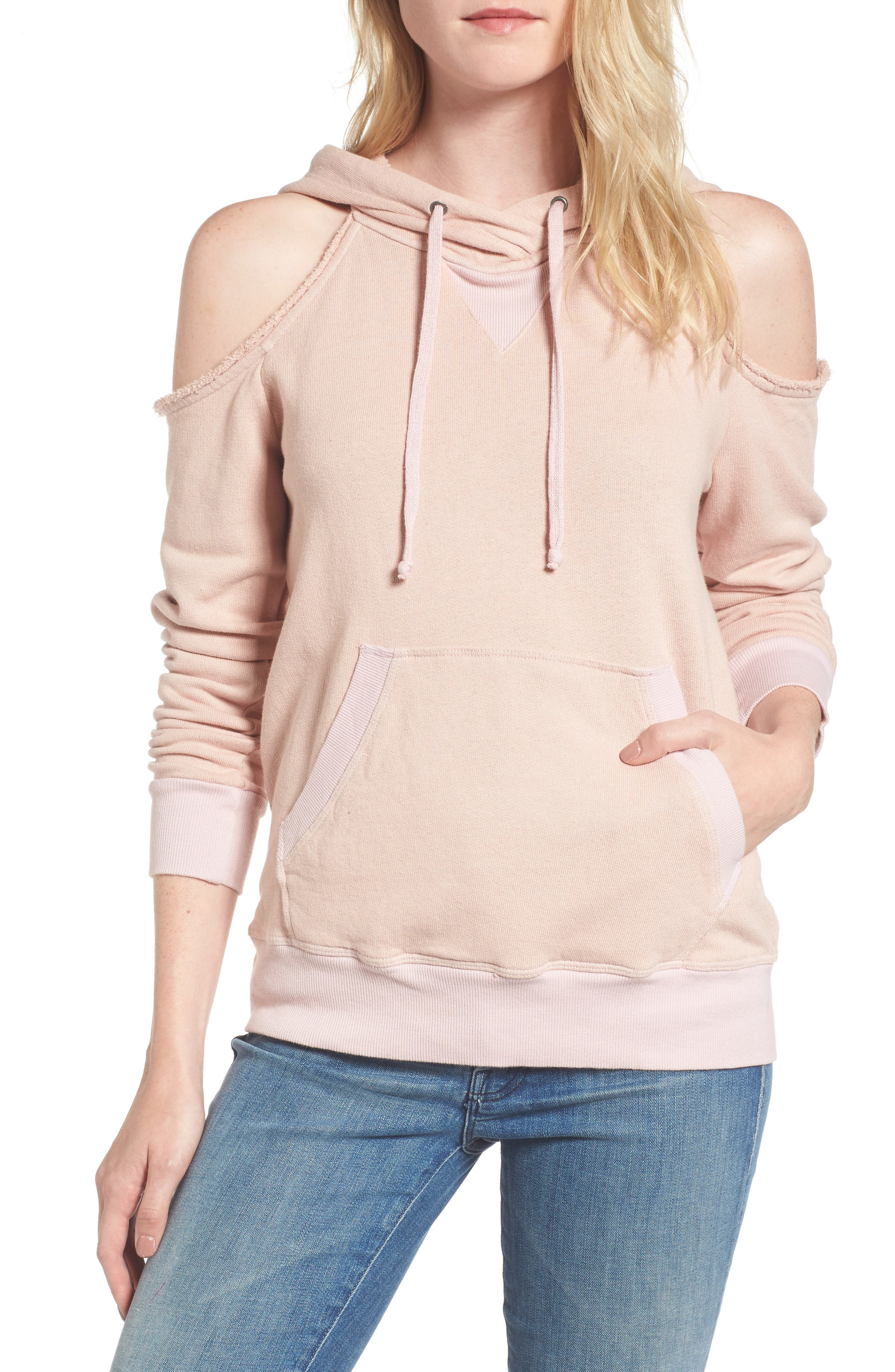 Cold Shoulder Hoodie,                         Main,                         color, Pink Beige