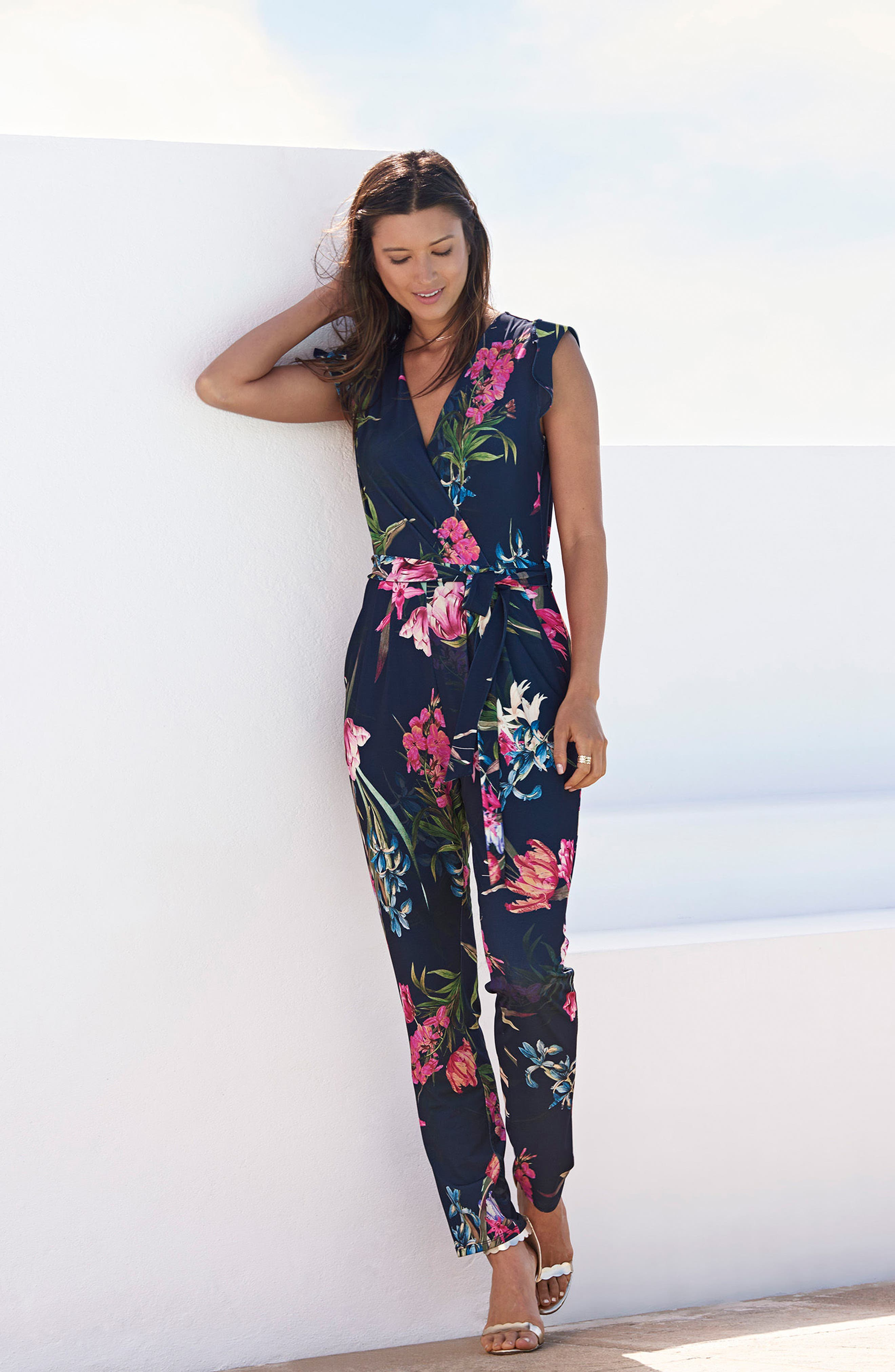 Tulip Blossom Jumpsuit,                             Alternate thumbnail 2, color,                             Navy