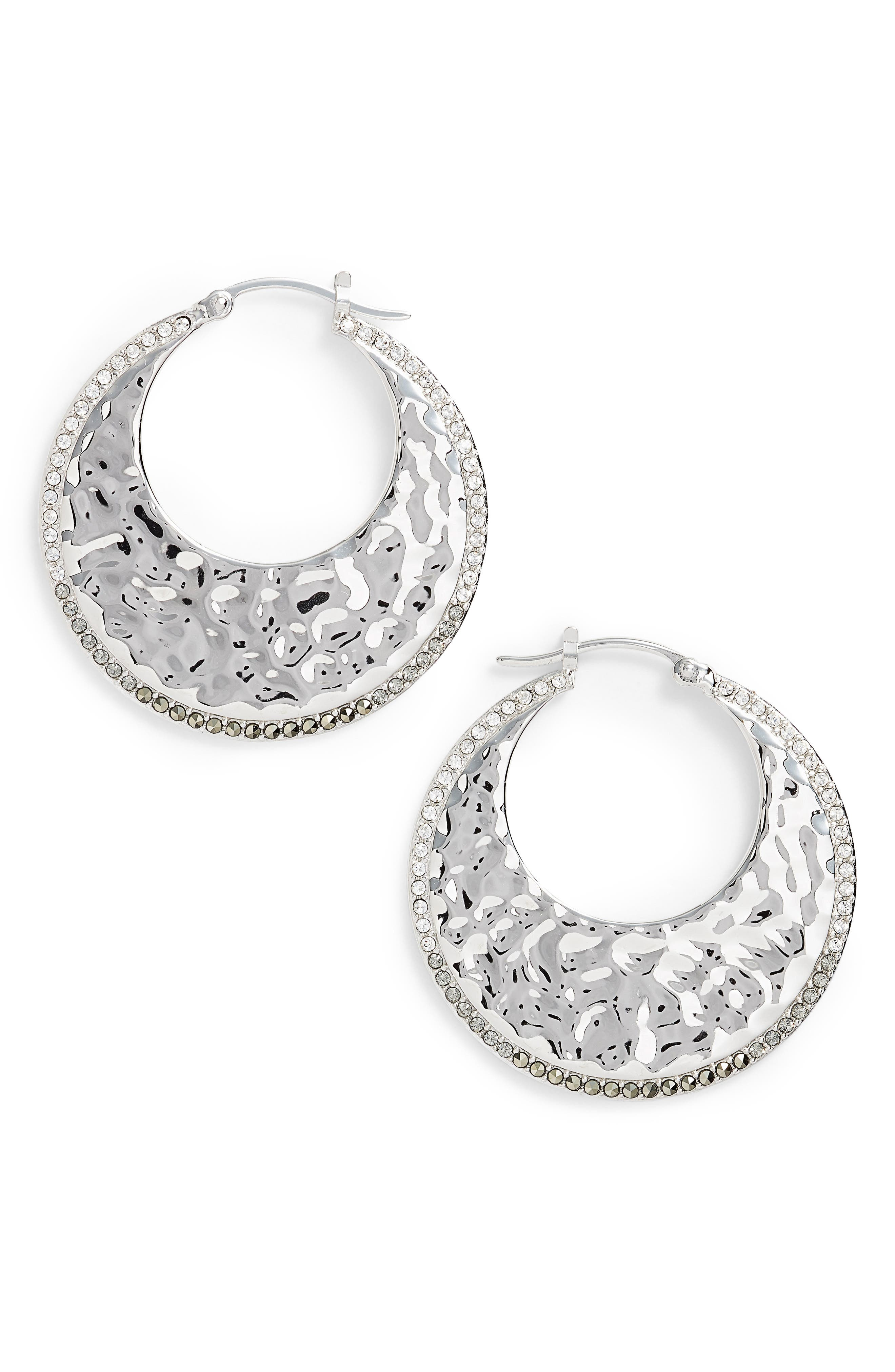 Judith Jack Hammered Hoop Earrings
