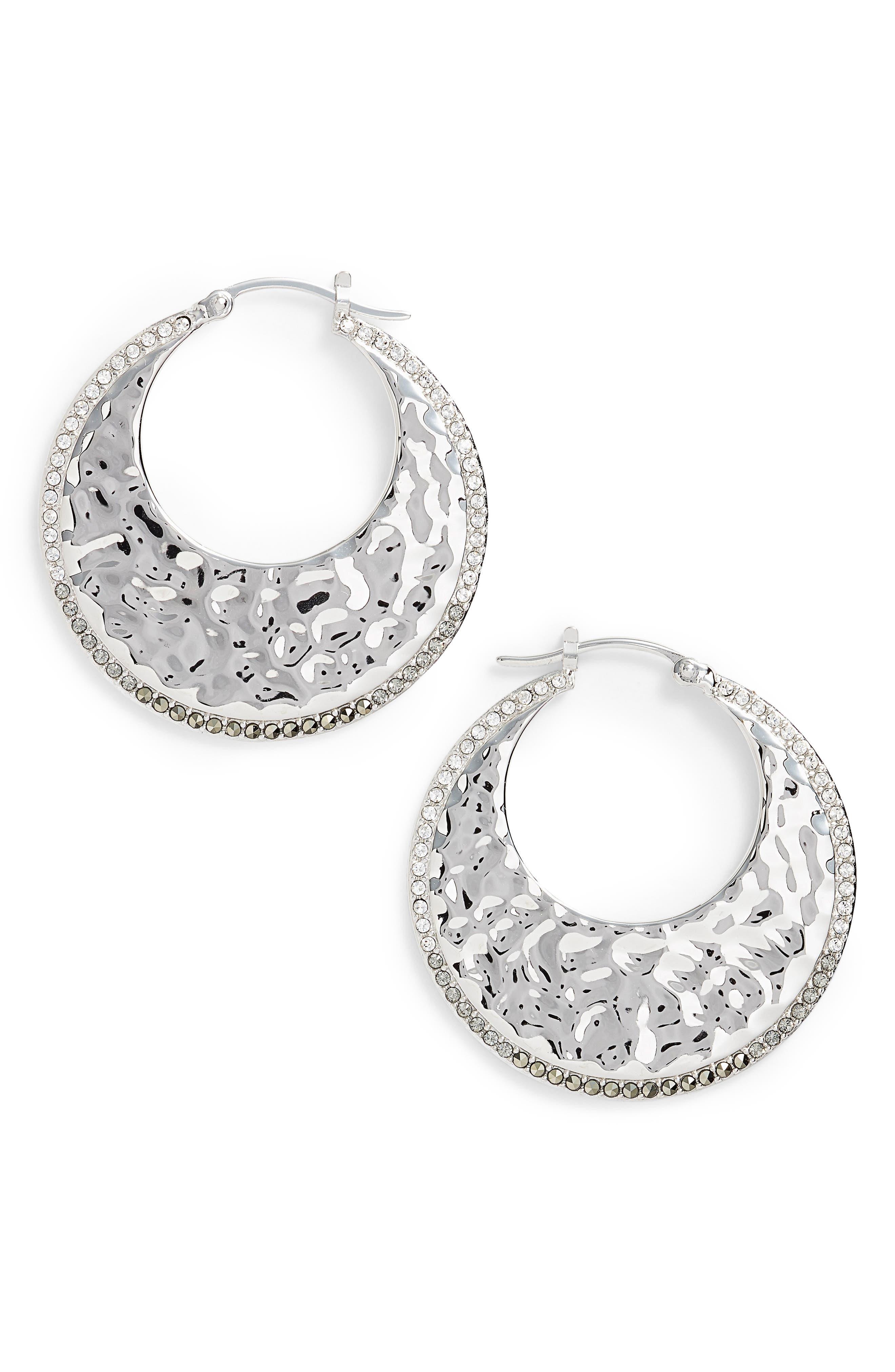 Judith Jack Hammered Hoop Earrings