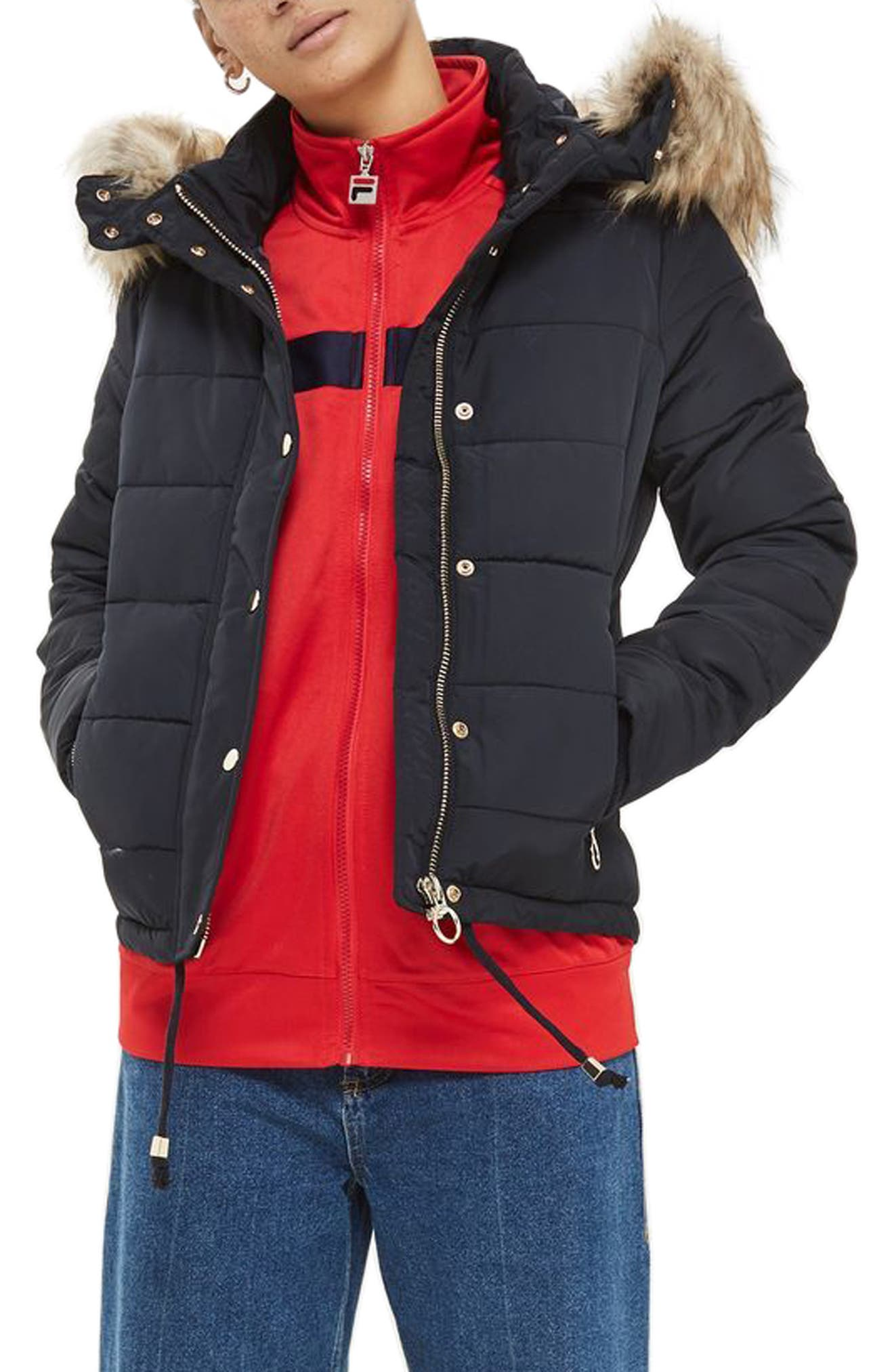 Alternate Image 2  - Topshop Nancy Quilted Puffer Jacket with Faux Fur Trim