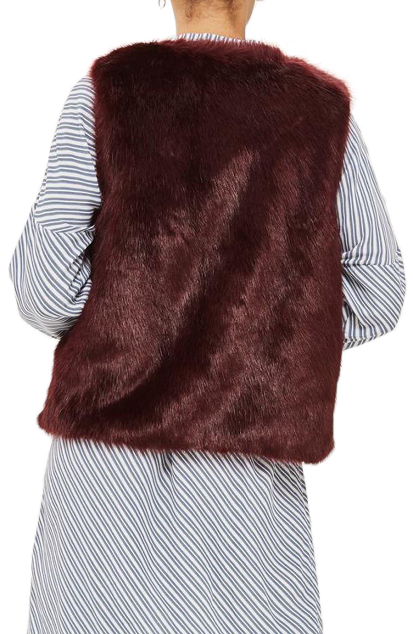 Clair Faux Fur Vest,                             Alternate thumbnail 2, color,                             Burgundy