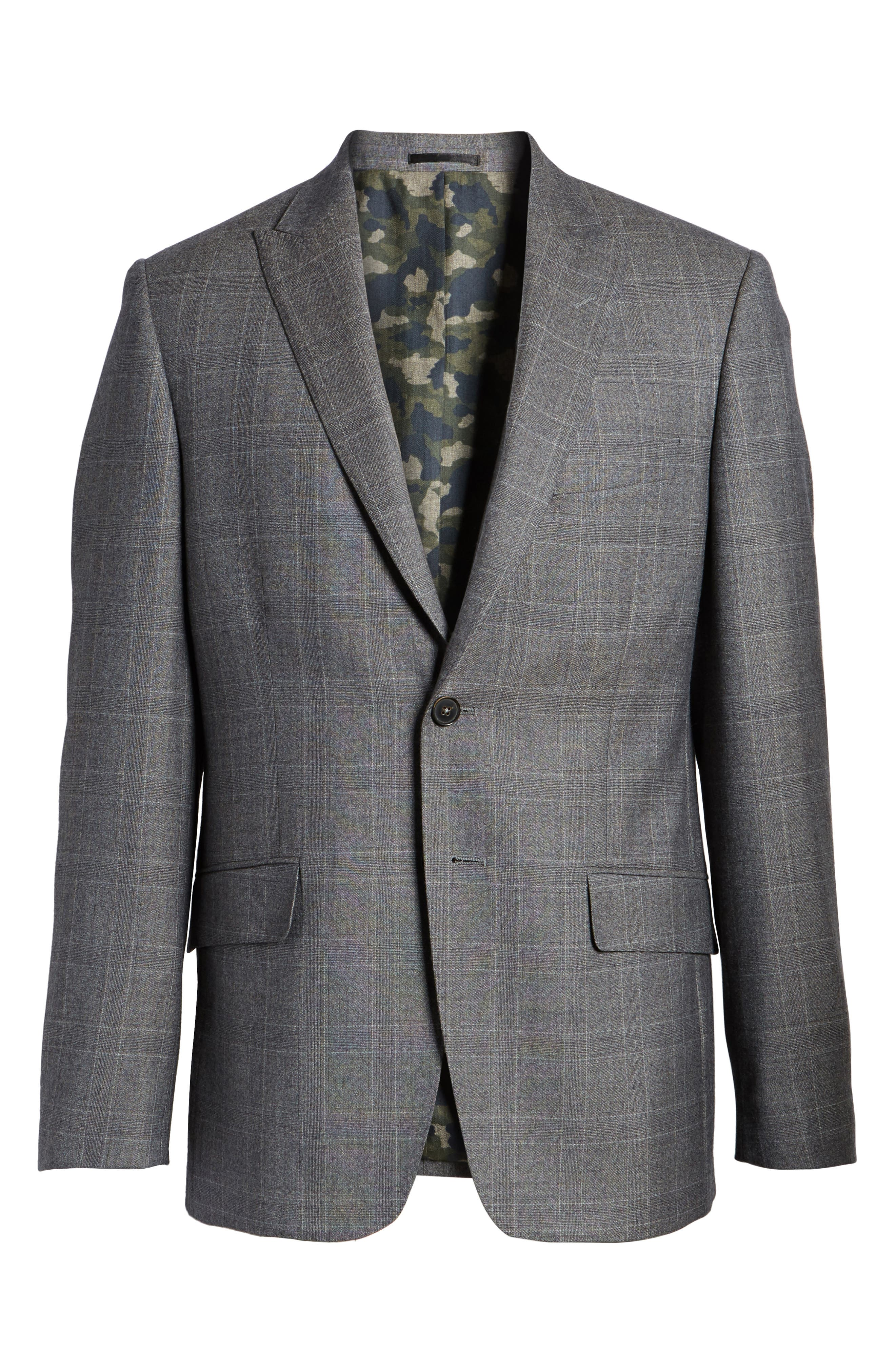 Gryning Trim Fit Plaid Wool Blend Sport Coat,                             Alternate thumbnail 6, color,                             Quiet Gray