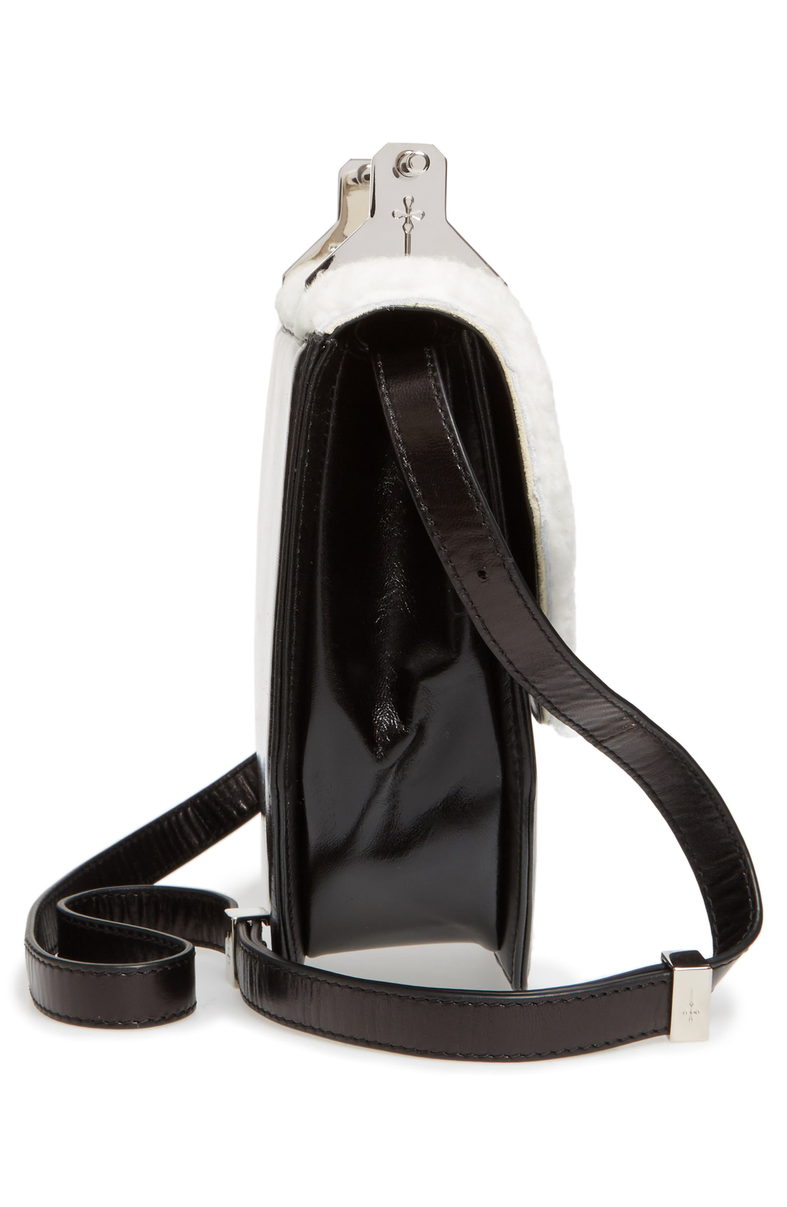 Amor Fati Leather & Genuine Shearling Shoulder Bag,                             Alternate thumbnail 4, color,                             Black/ White/ Silver